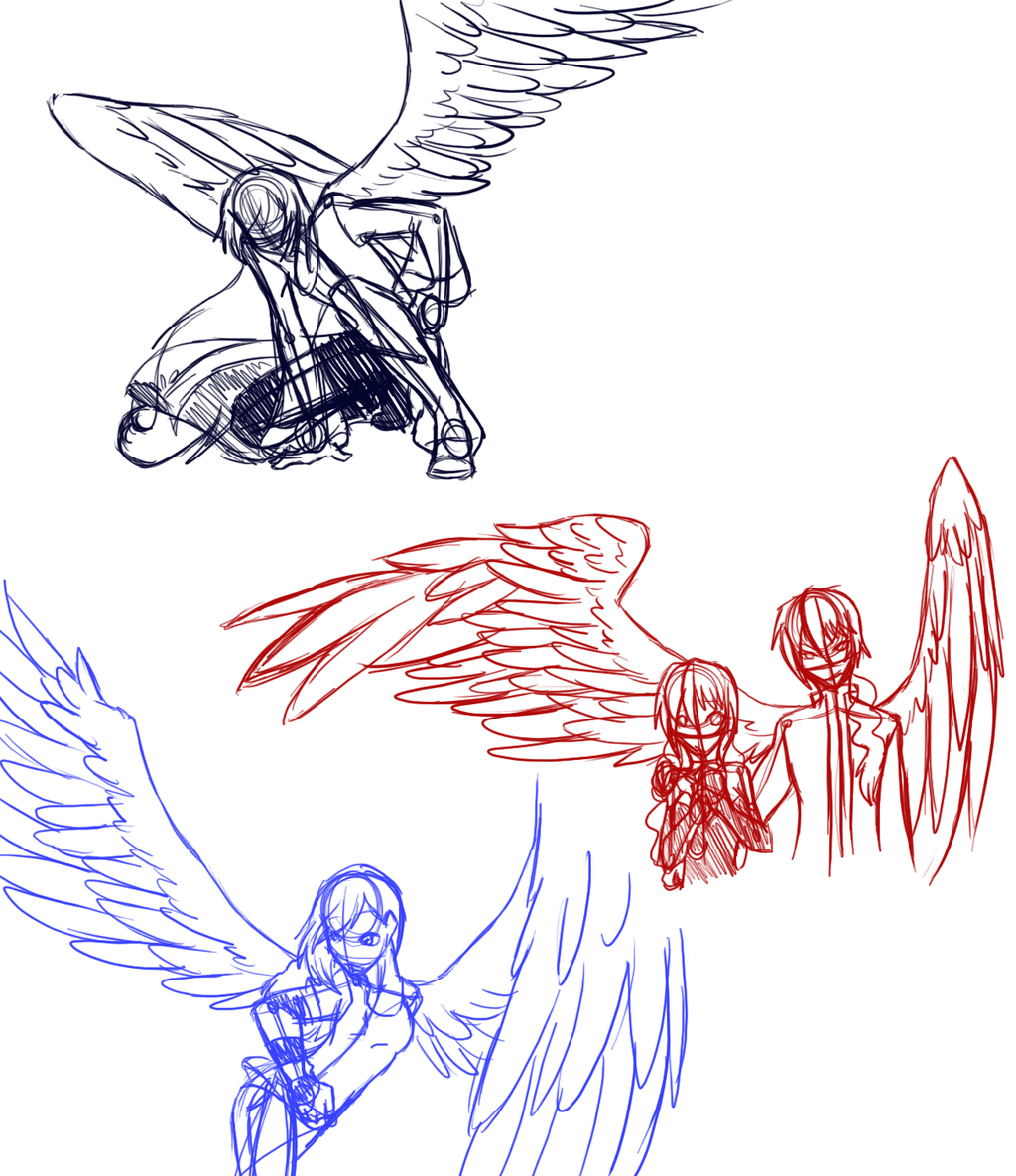 winged poses Anime People With Wings Drawings H.a