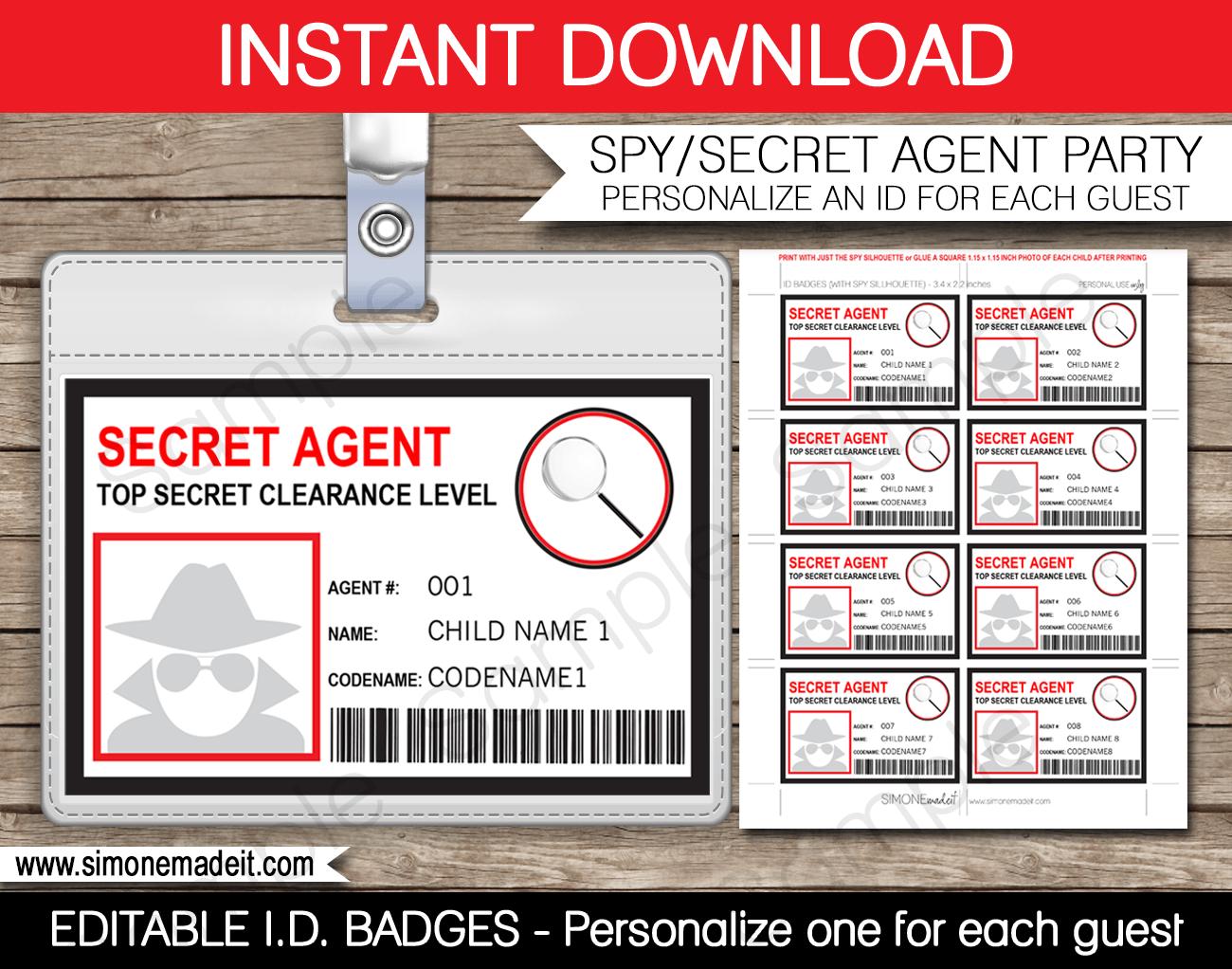 Secret Agent Badge Template