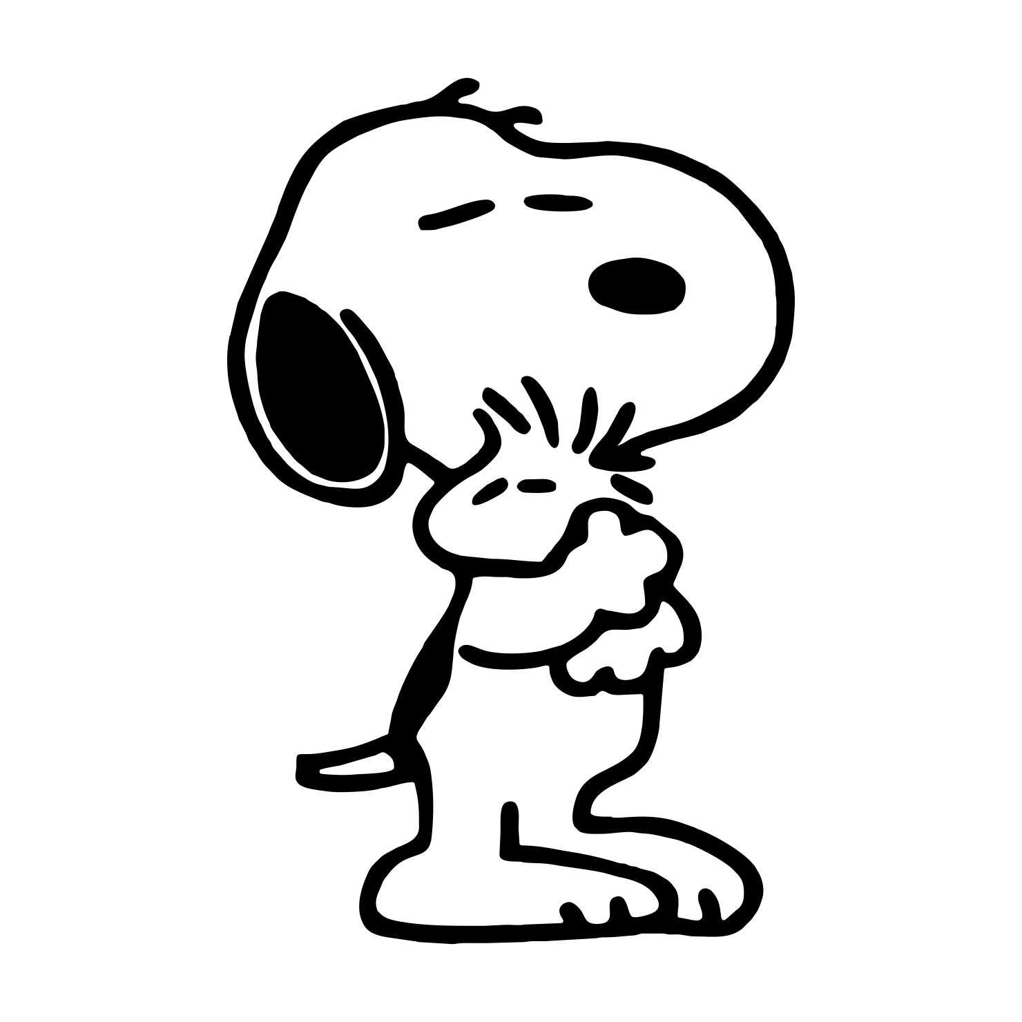 Snoopy Hugging Woodstock Graphics Svg Dxf Eps Cdr Ai