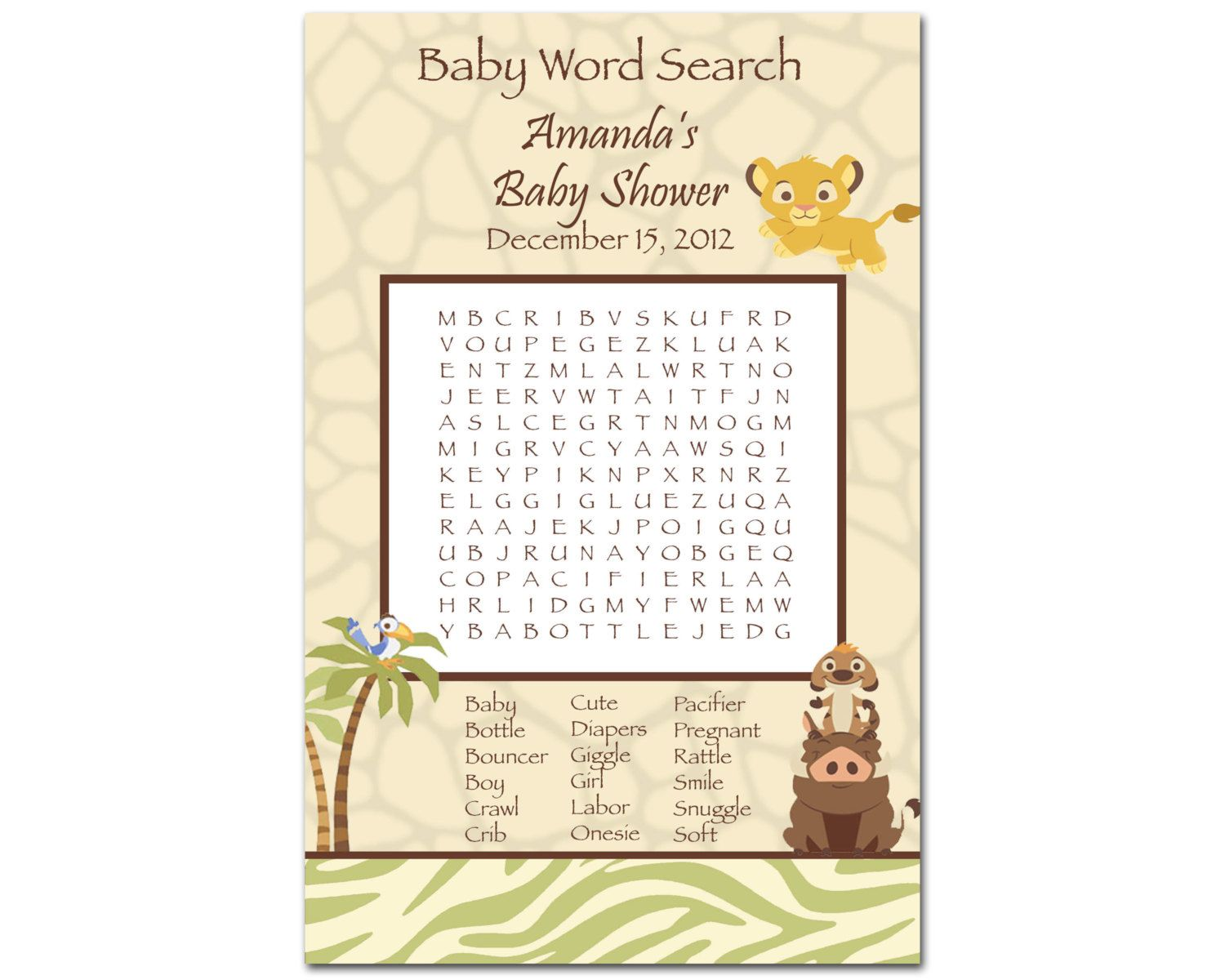 Printable Lion King Baby Shower Word Search Game