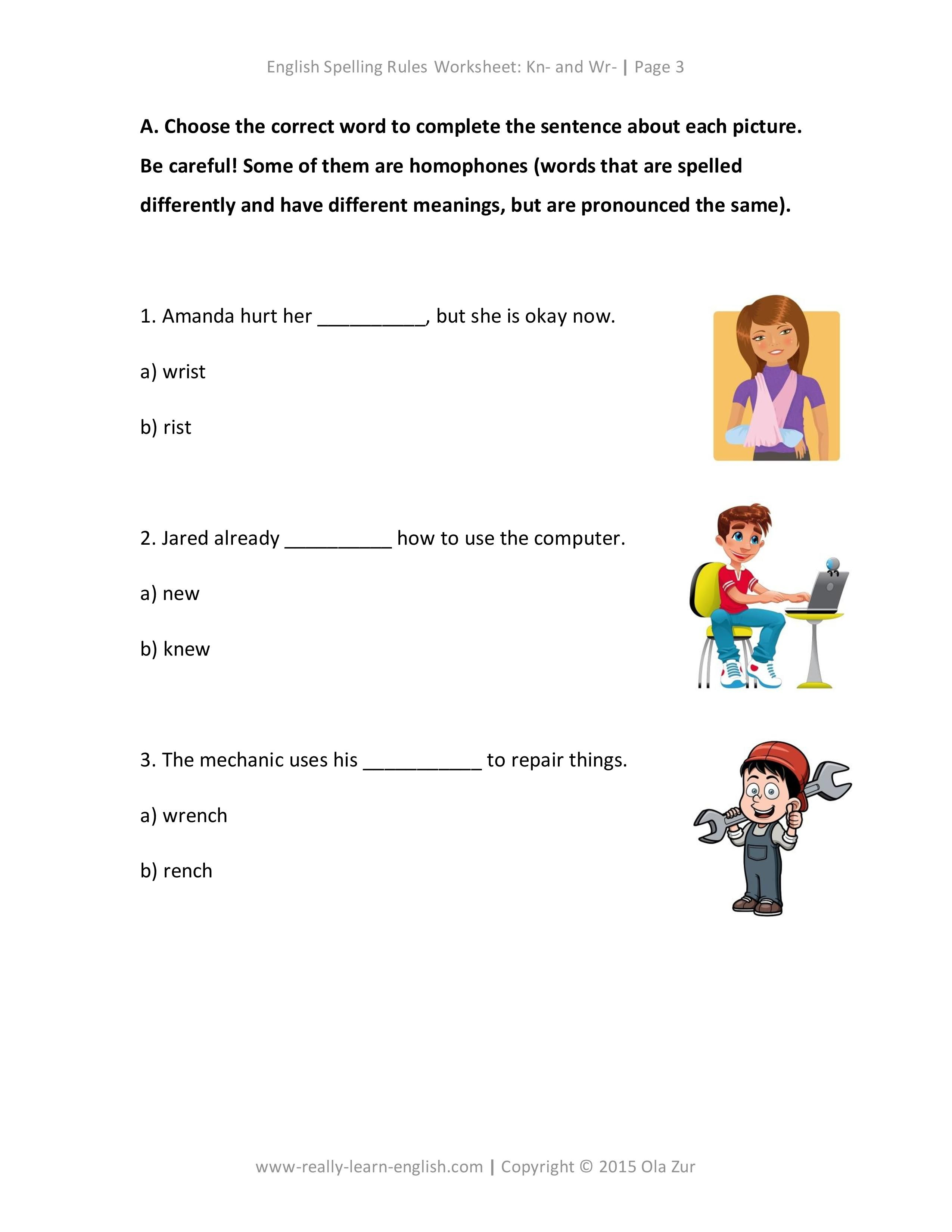 English Spelling Rules and Printable Worksheet for Kn and