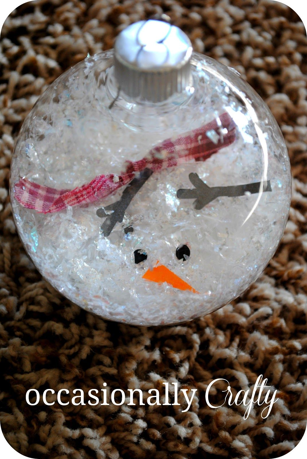 Melted Snowman Ornament Clear ornaments Fake snow or