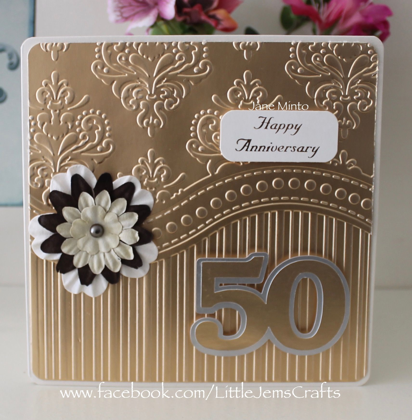 Golden 50th wedding anniversary card made with the all