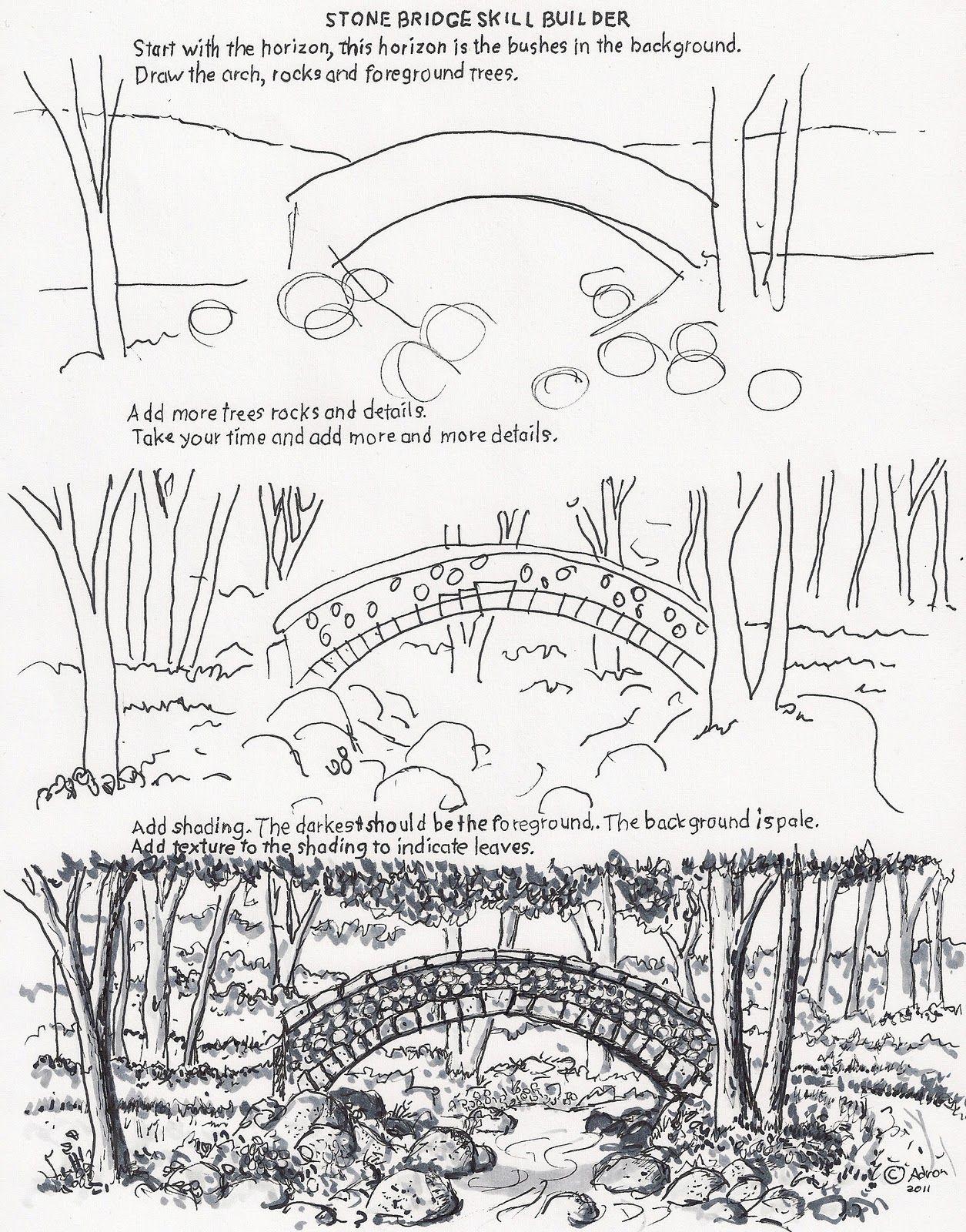 How To Draw A Stone Bridge