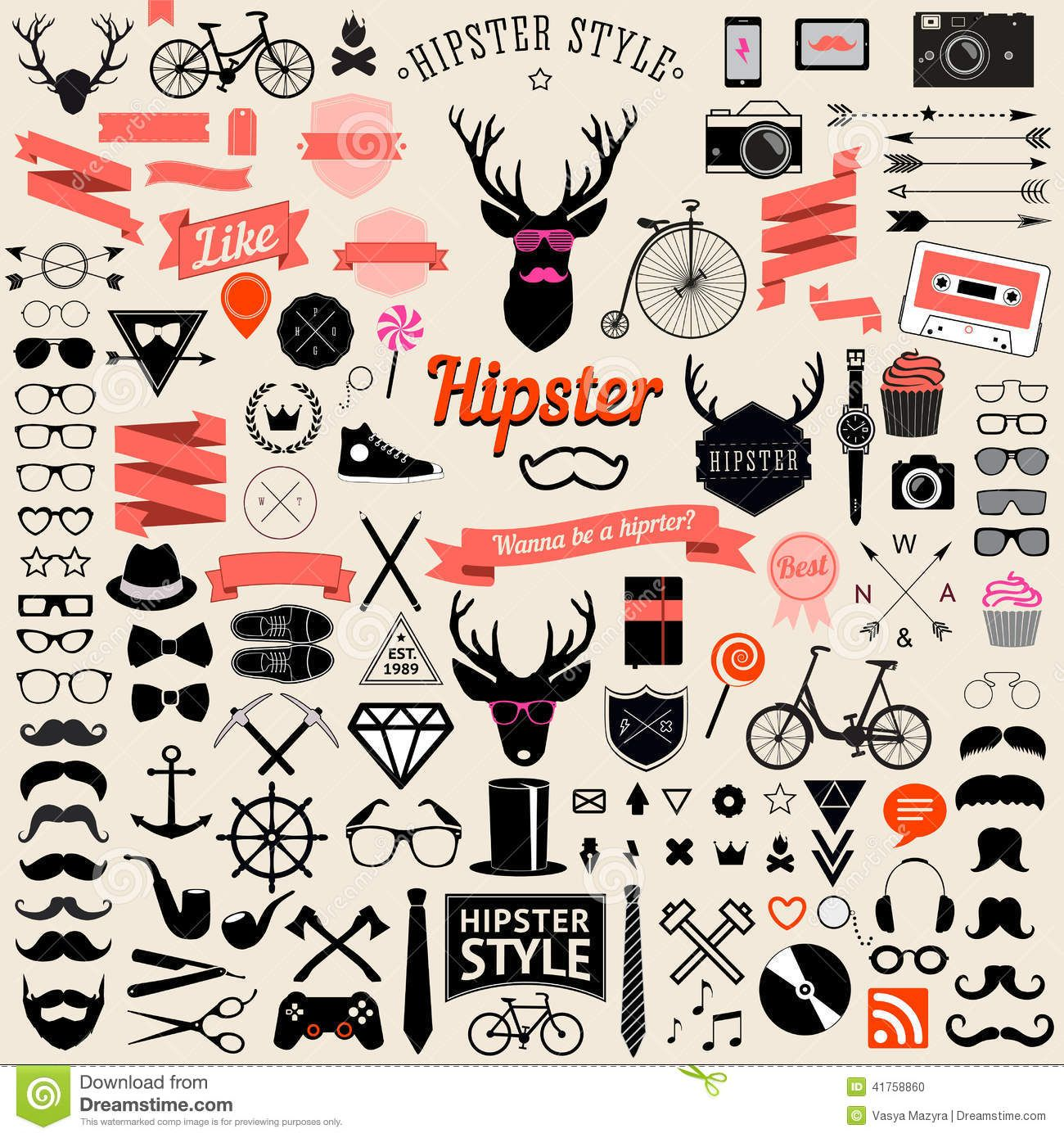Set of vintage styled design hipster icons. Vector signs