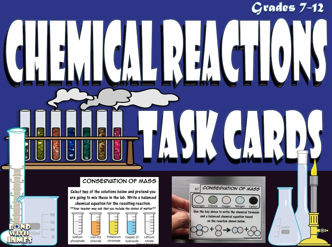 Chemical Reactions Chemistry Task Cards