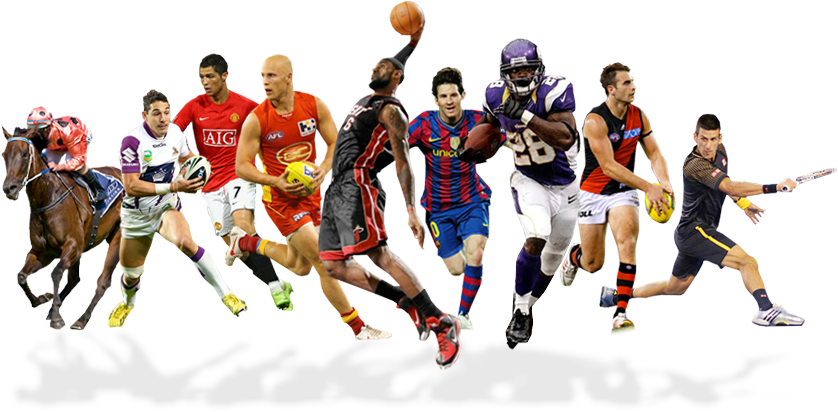 This photo shows many sports and also sports players