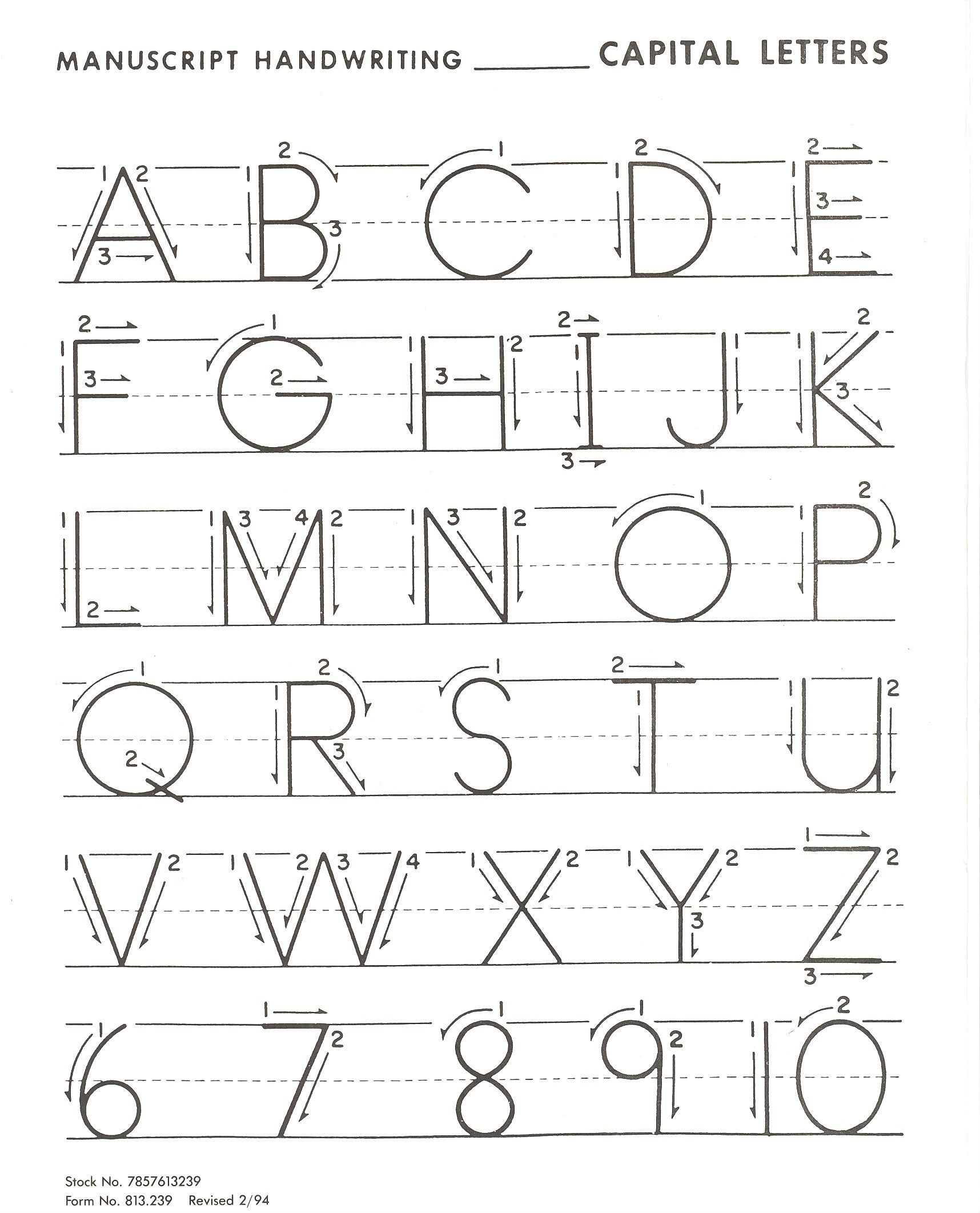 Letter Practice For Basic Handwriting