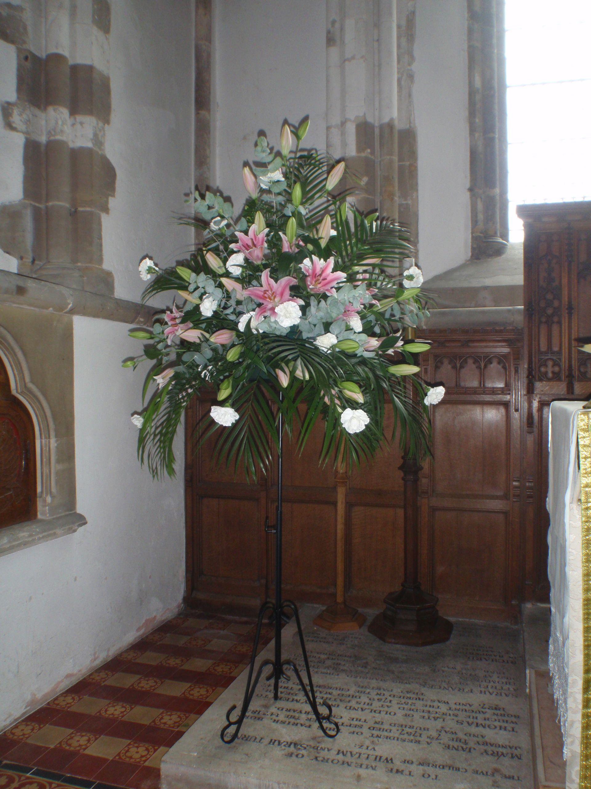 A Beautiful Stargazer Lily Pedestal Arrangement For Church