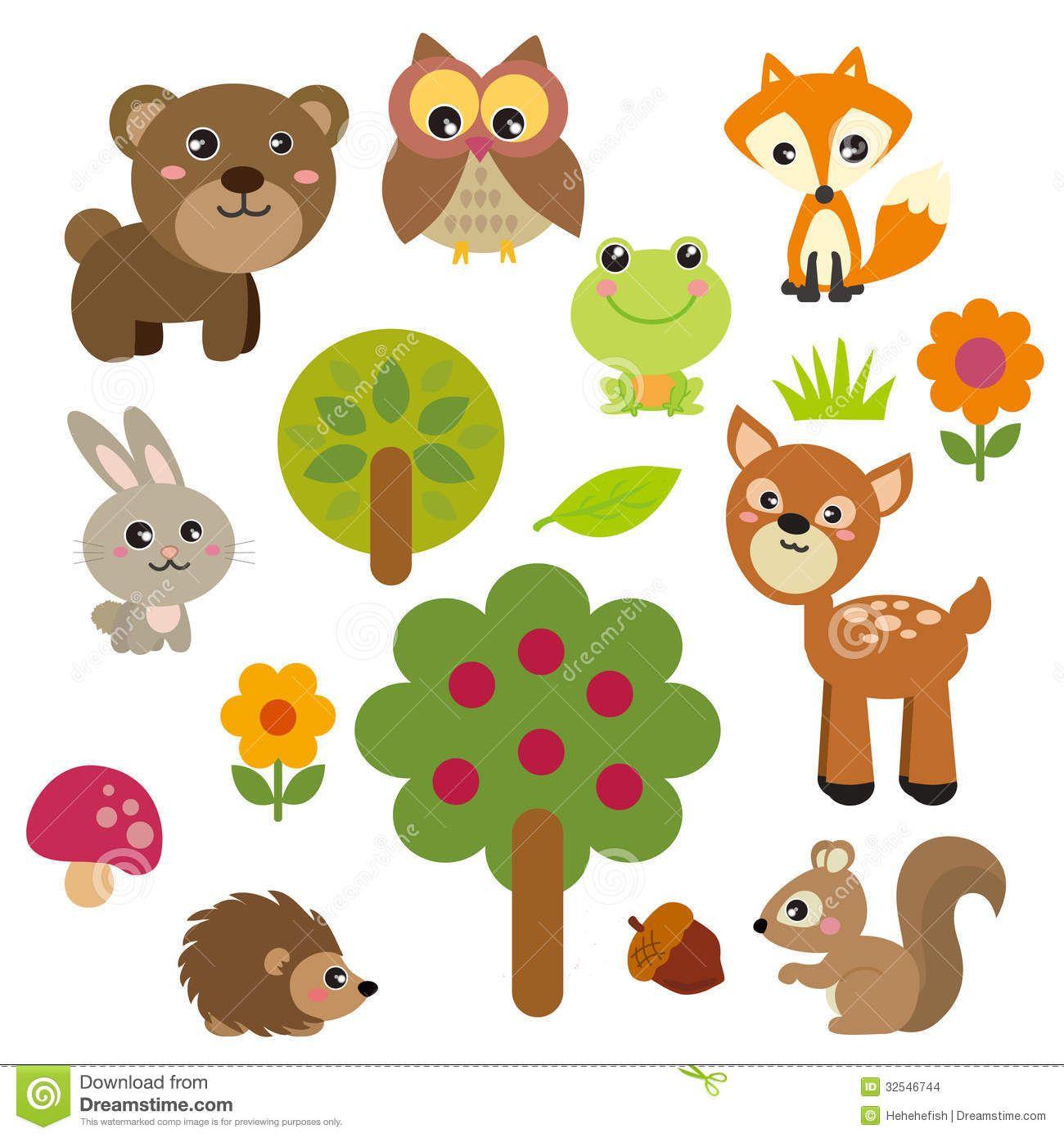 Cute Cartoon Animal Clip Art Realistic Woodland Animals