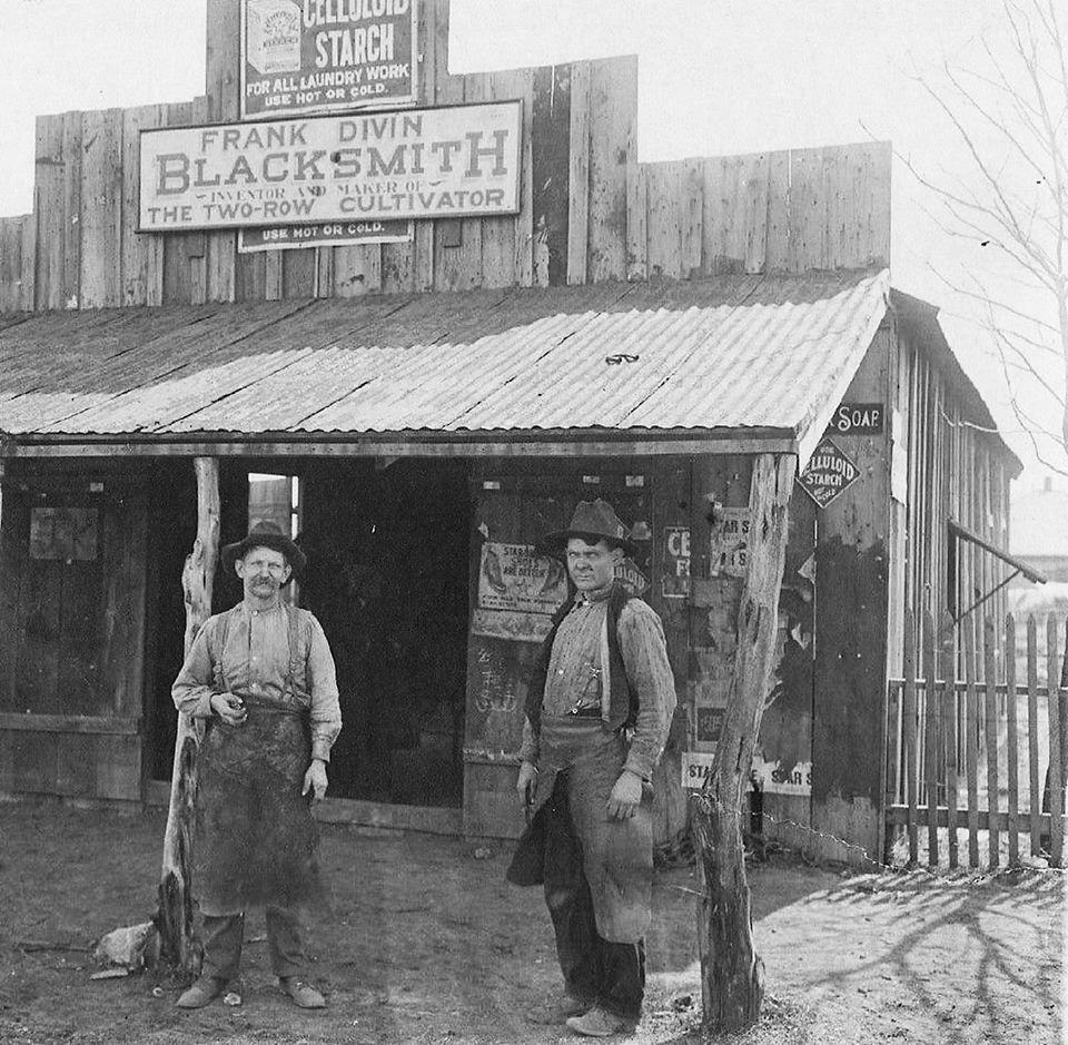 Frank Divins Blacksmith shop in the town of West Texas