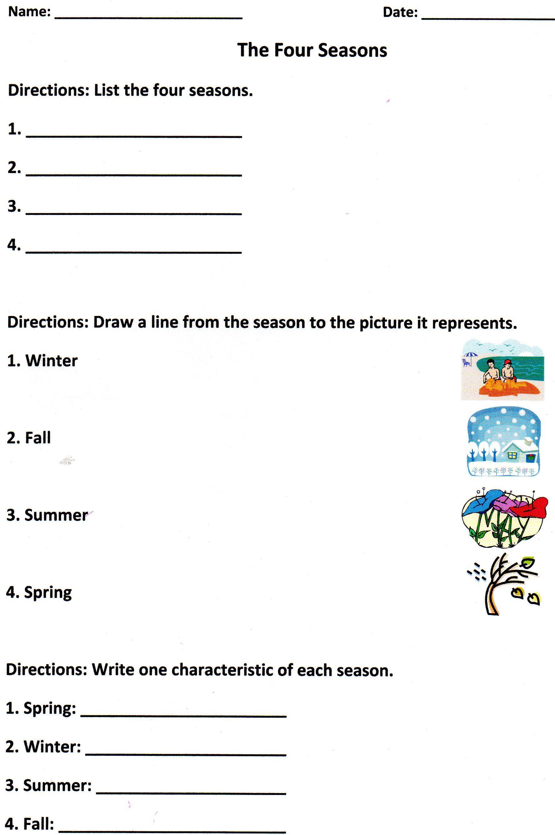 The Four Seasons Assessment For K 1