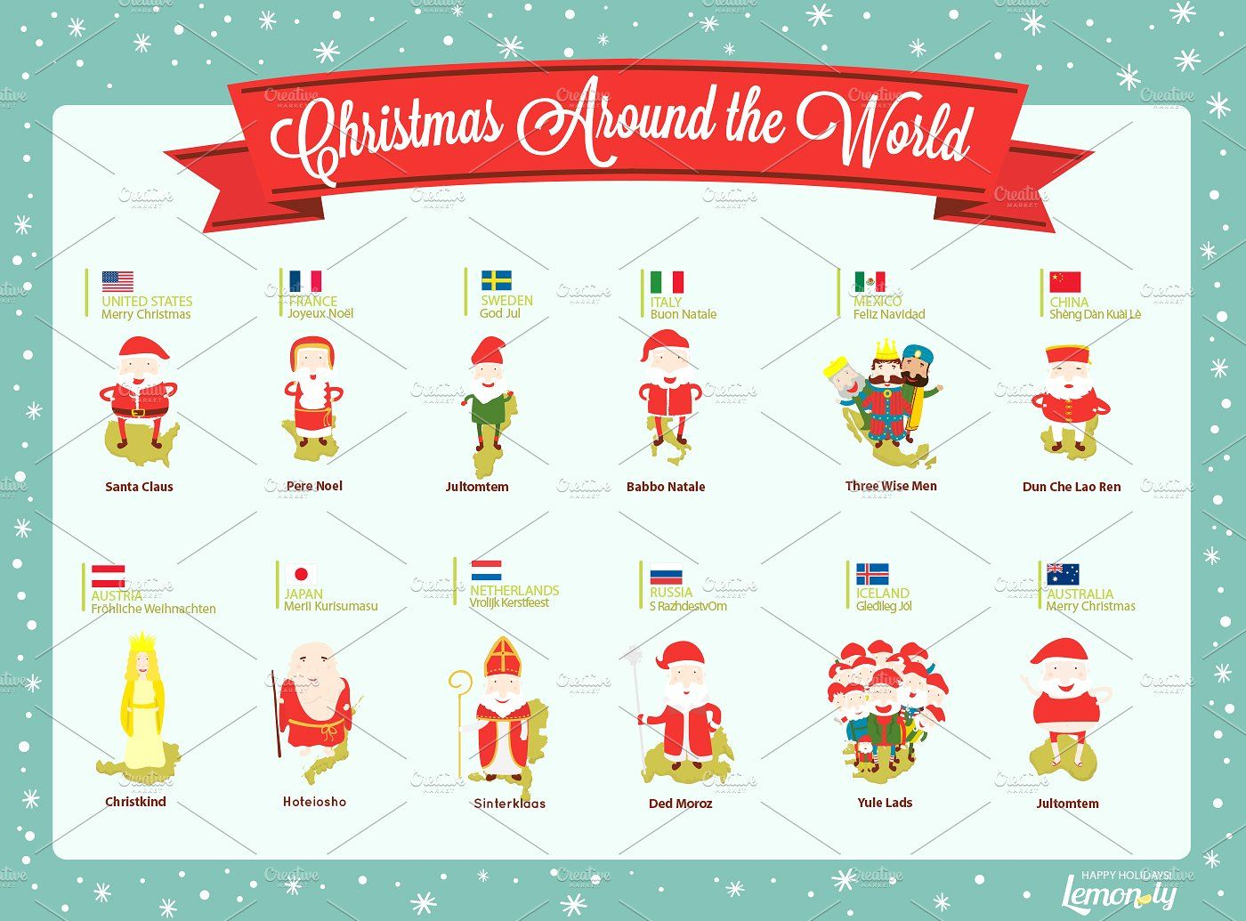 Christmas Around the World by Lemonly on creativemarket