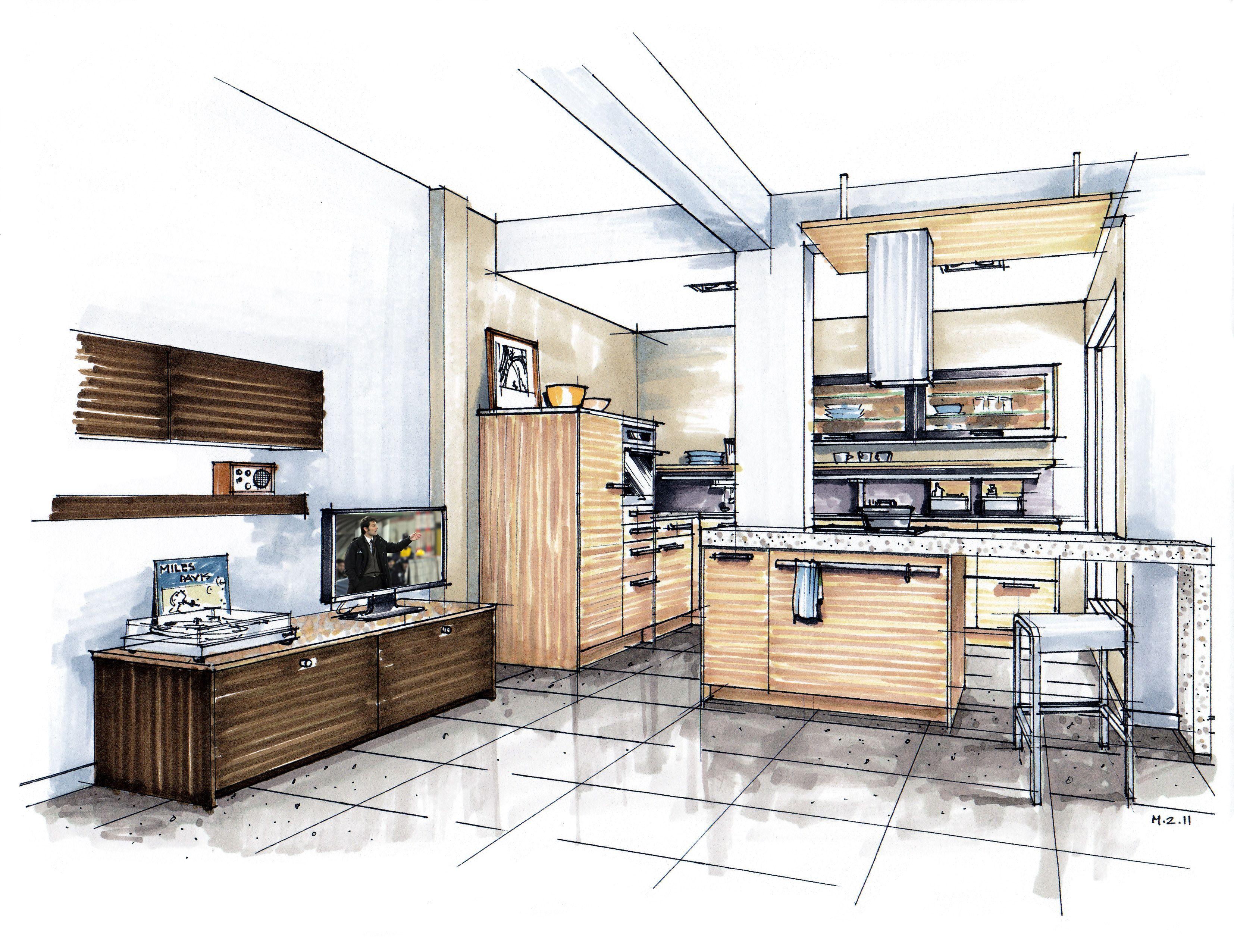 Hand Rendering Mick Ricereto Interior Interior Design