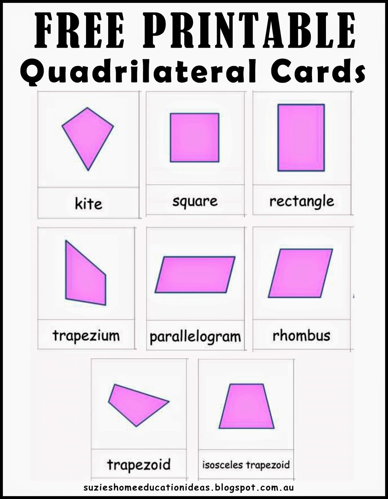 Suzie S Home Education Ideas Learning About Quadrilaterals