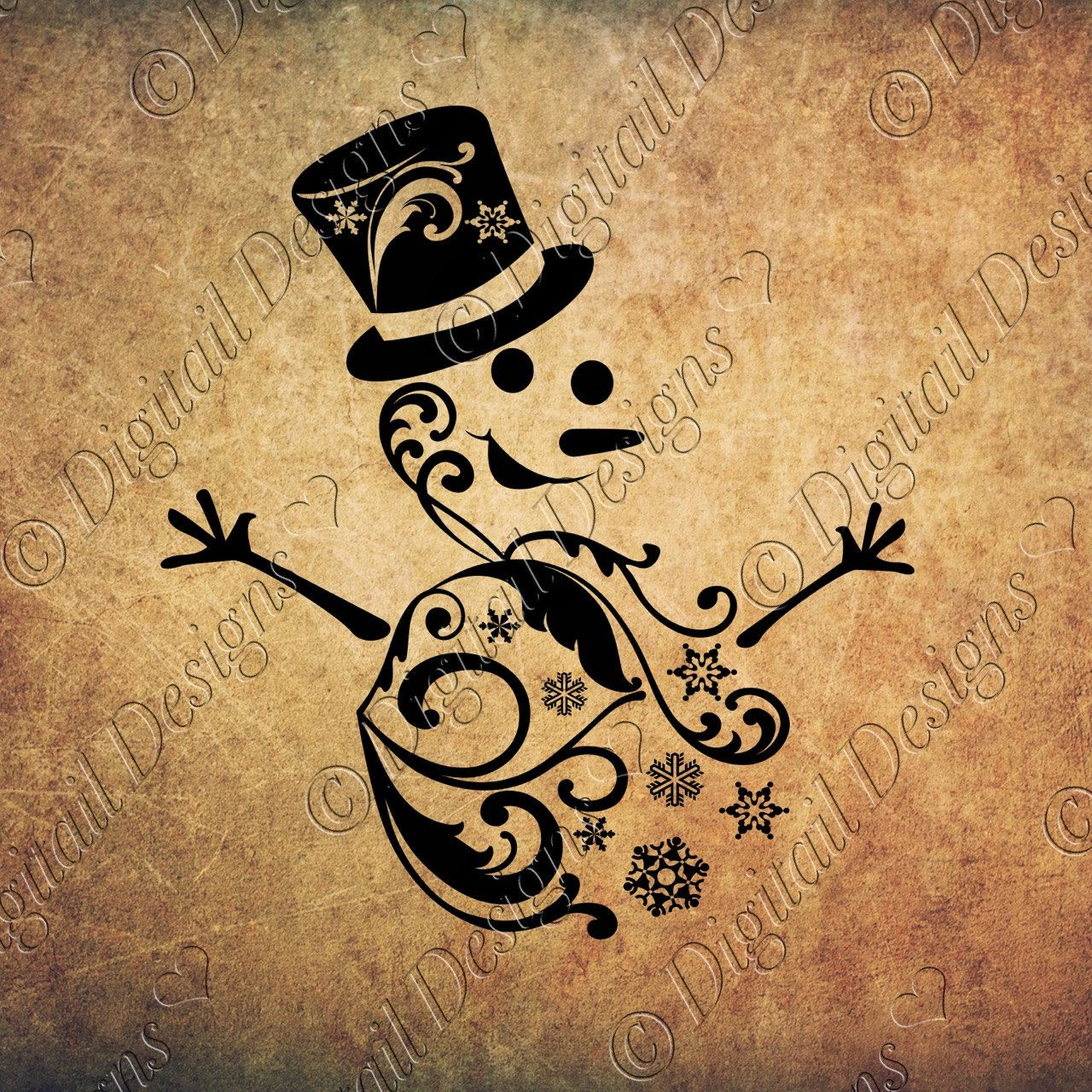 Swirl Snowman SVG PNG DXF Eps Fcm Cut file for Silhouette