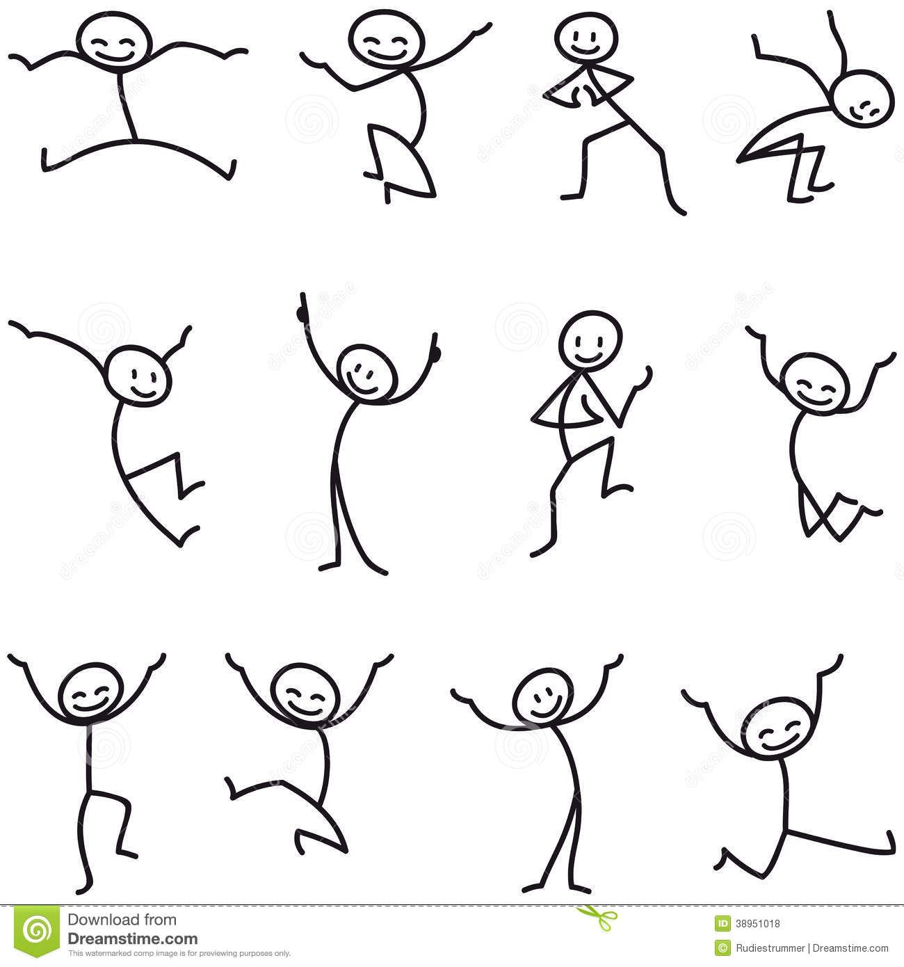 Stick Man Stick Figure Happy Jumping Celebrating