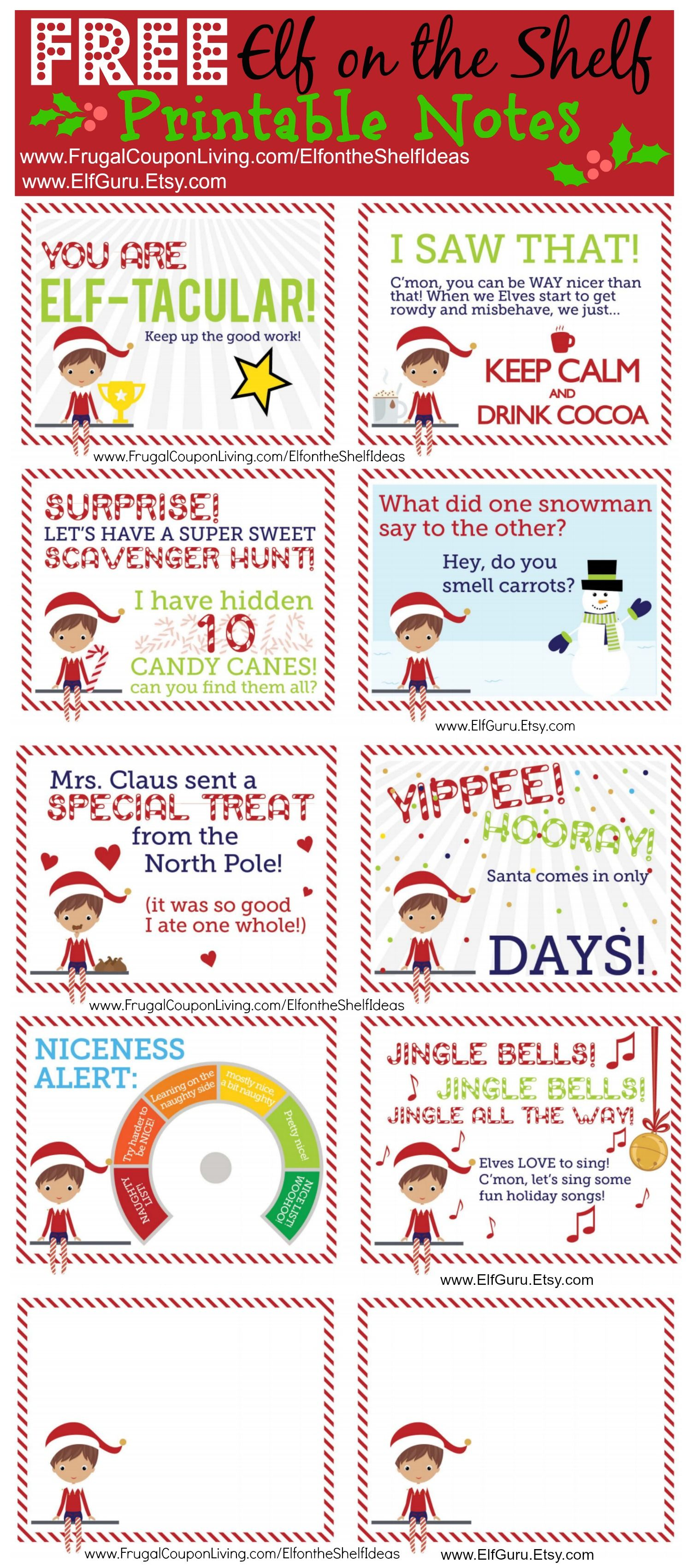 FREE Elf on the Shelf Notes Shelf ideas, Elves and Frugal