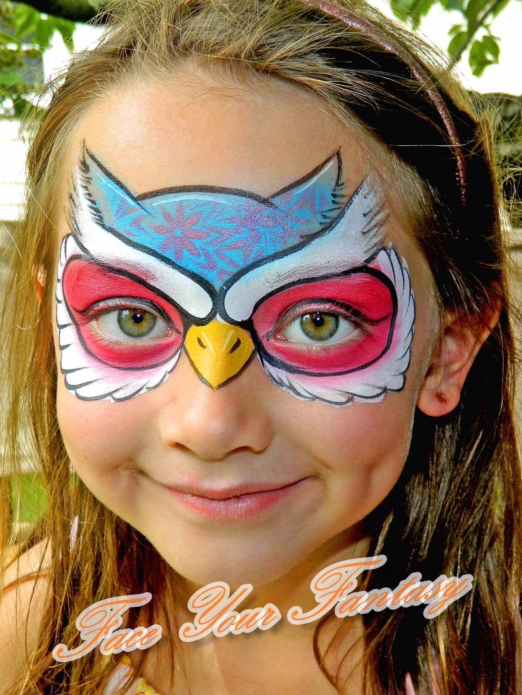 Owl mask owlfacepaint Face Your Fantasy Face Painting