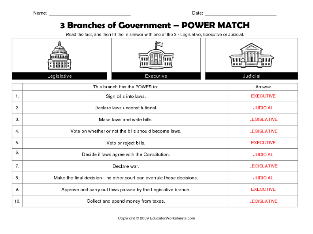 3 Branches Of Government Worksheets High School