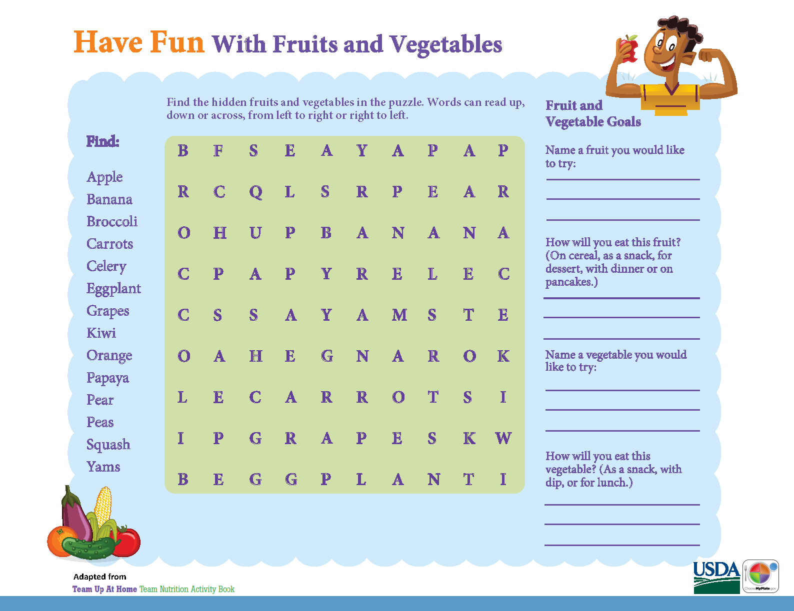 Have Fun With Fruits Amp Vegetables In This Myplate Activity Sheet Kids Games Wordsearch
