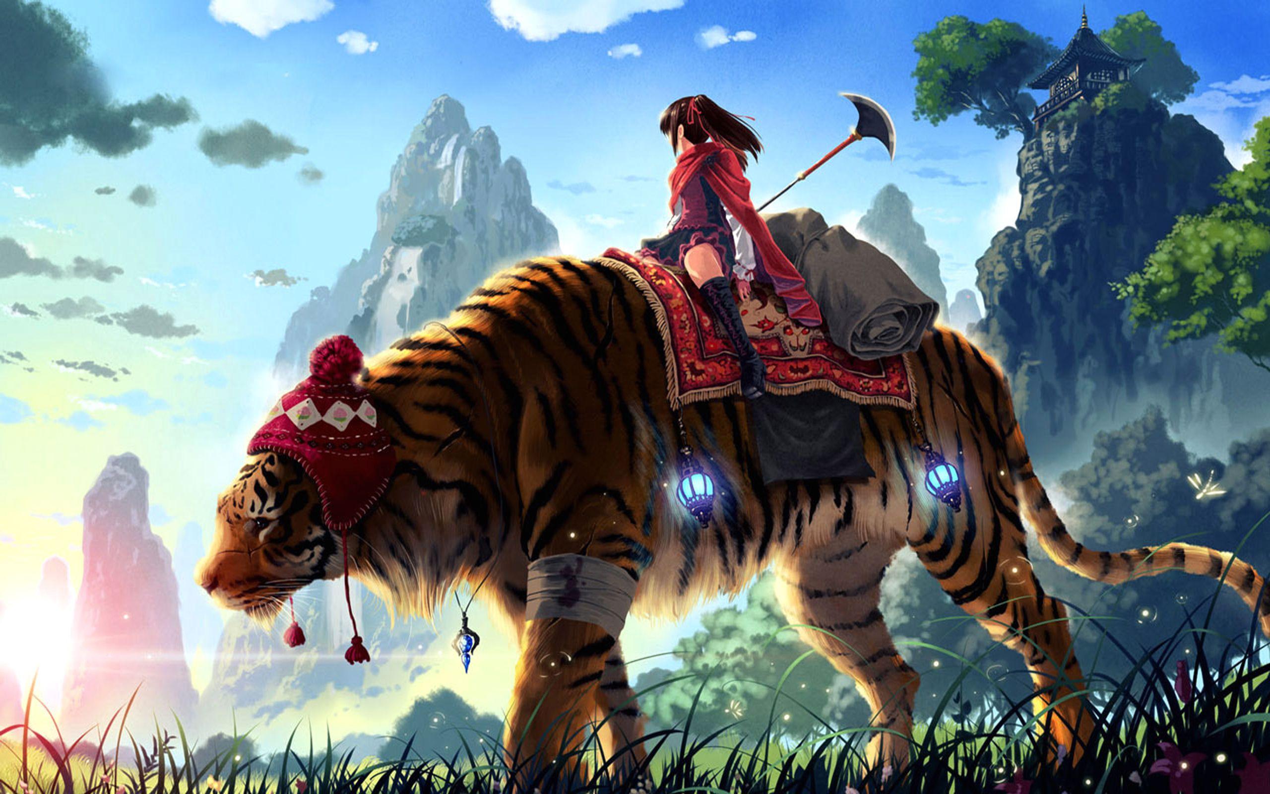 Anime Original Girl Tiger Journey Wallpaper
