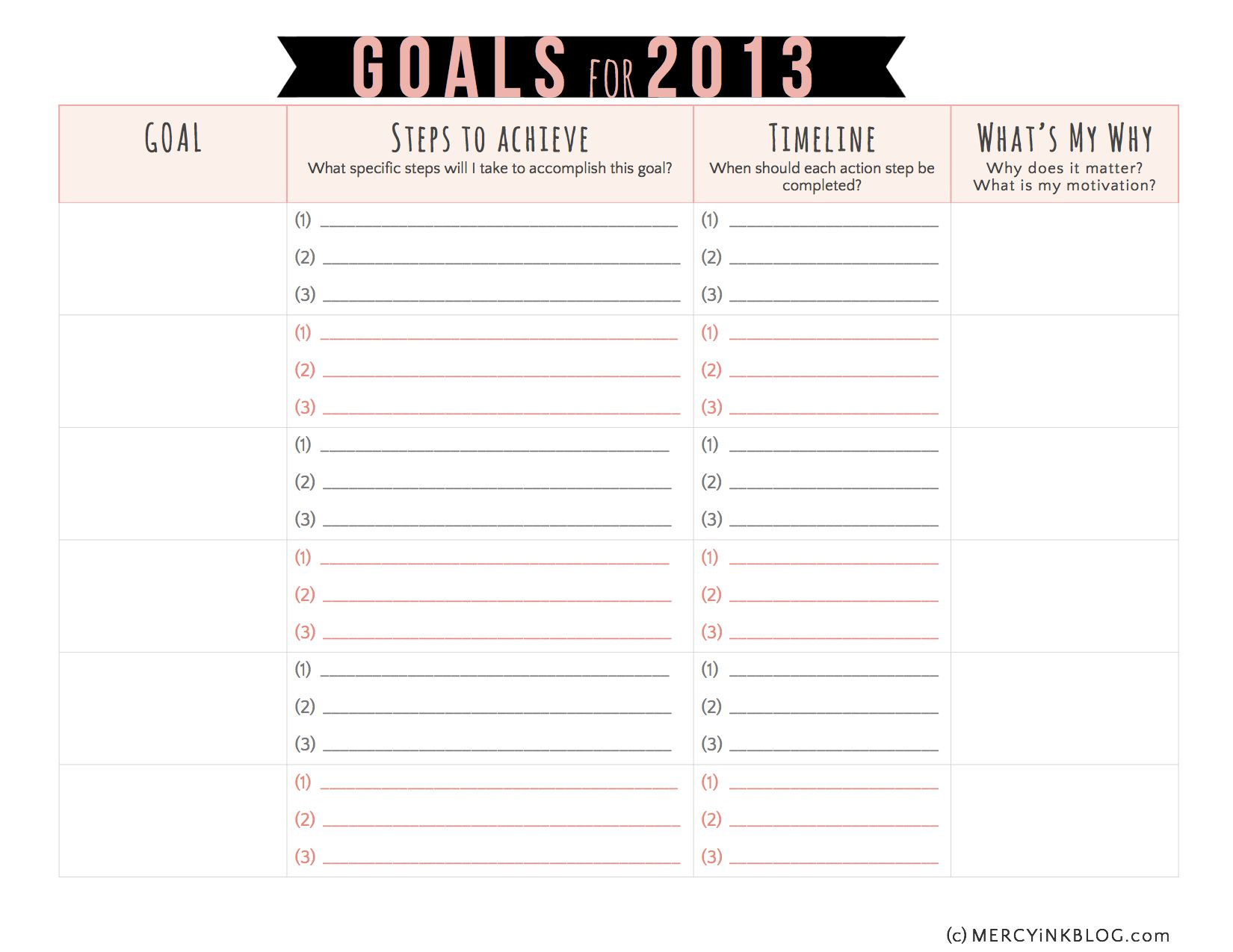 Vision Goal Setting In A Free Printable