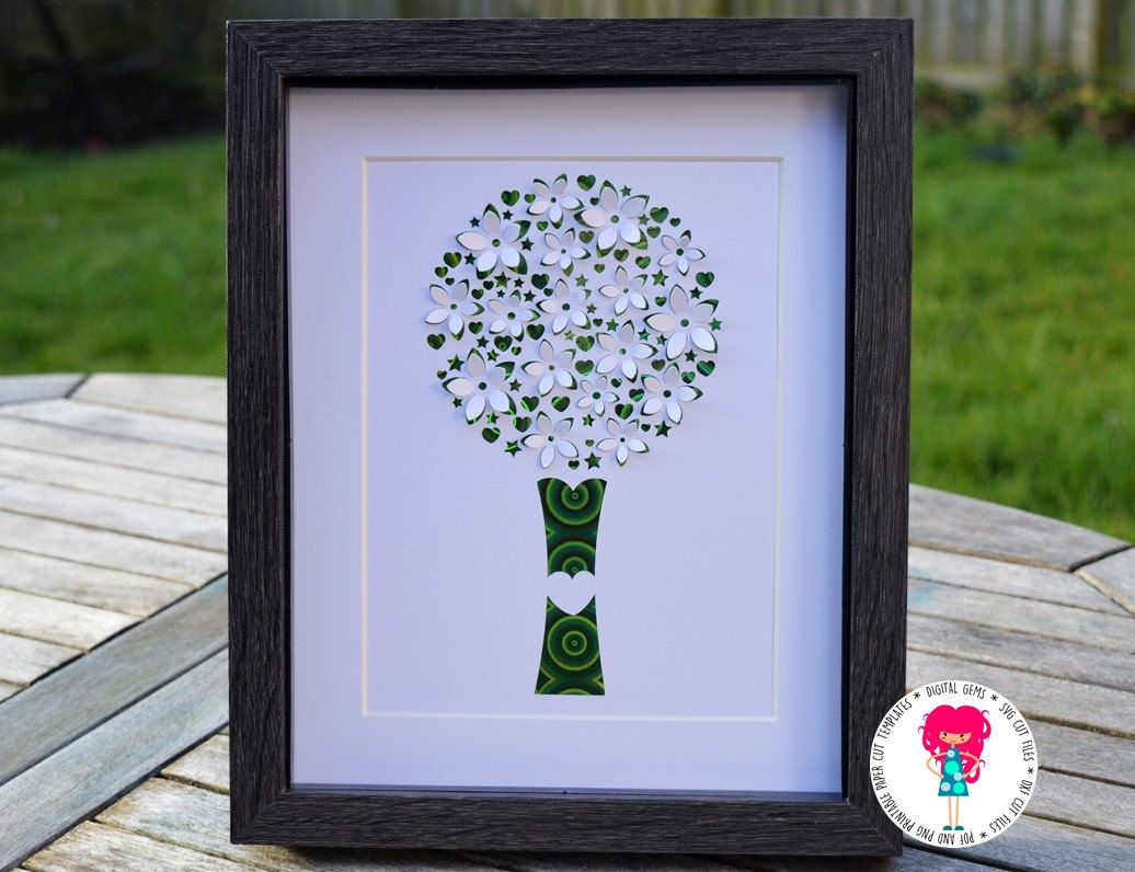 3D Tree Paper Cut Template, SVG / DXF Cutting File For
