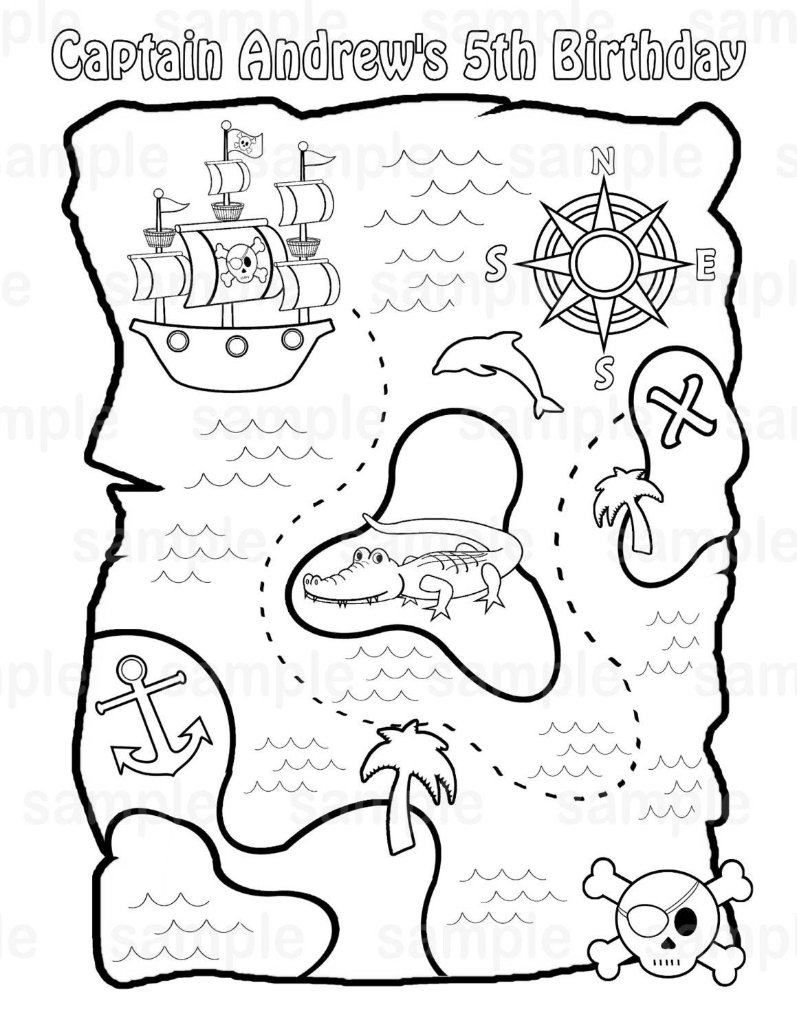 Printable Pirate Treasure Map For Kids