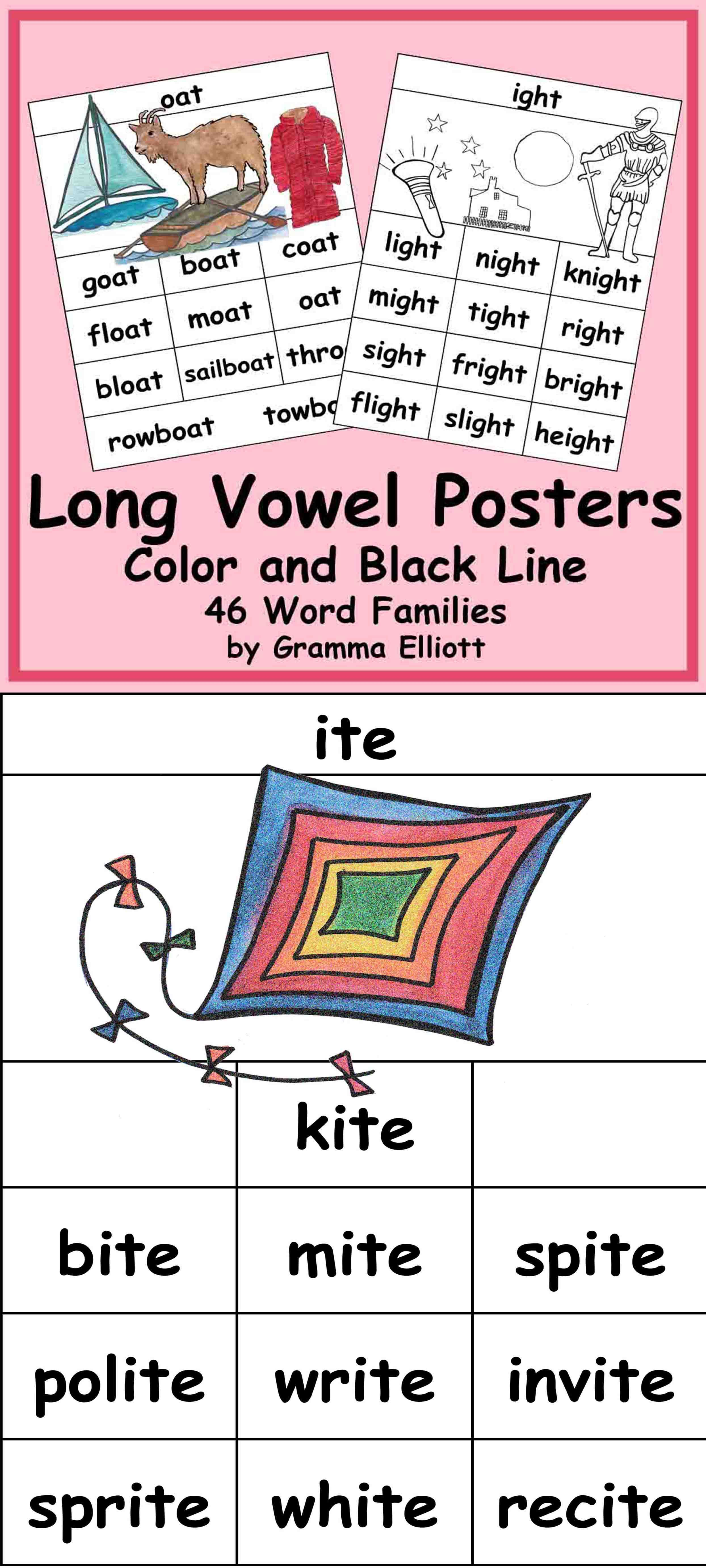 Long Vowel Word Family Posters In Color And Bw For 46 Word Families