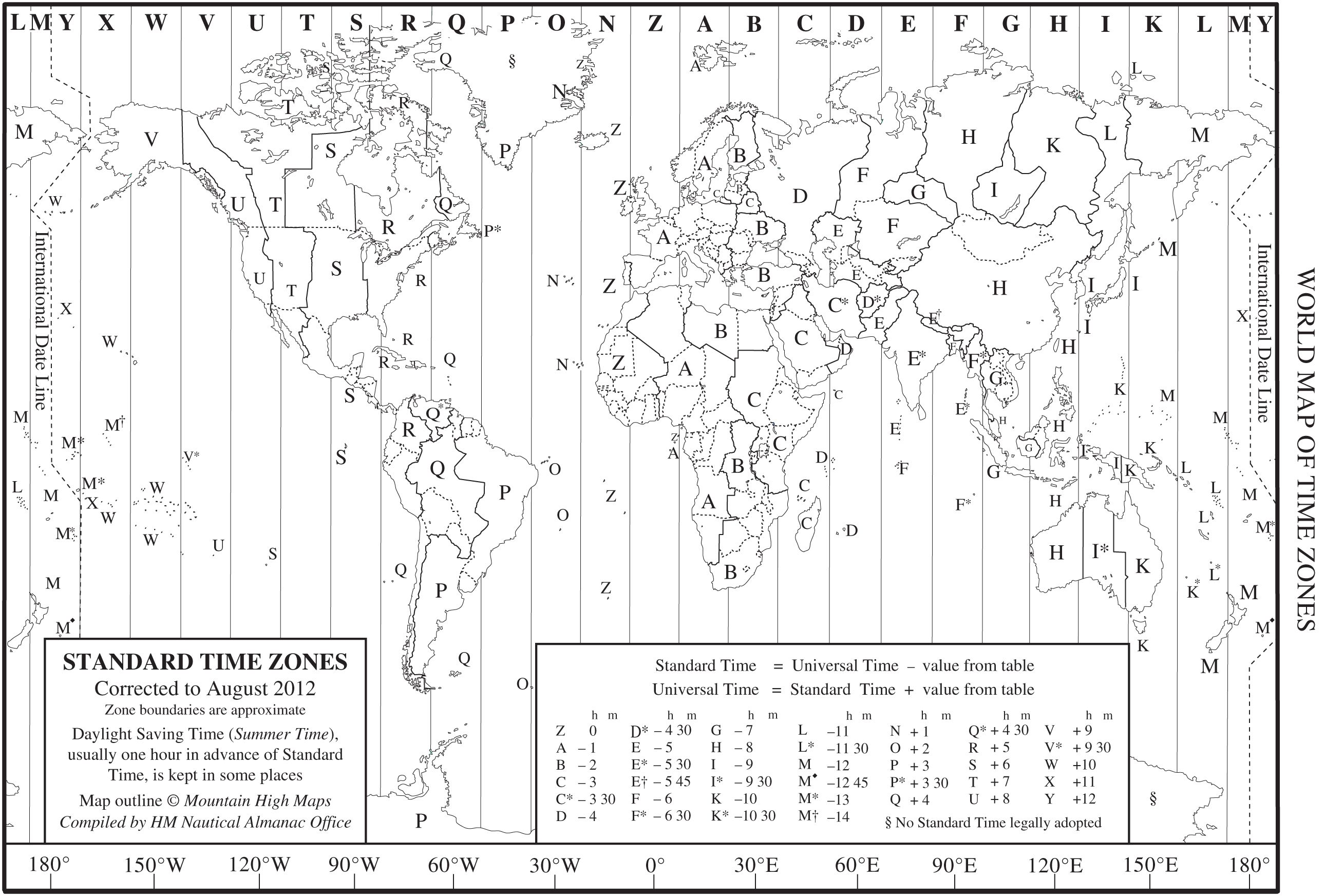 World Time Zone Map As A Printable Note That This Is
