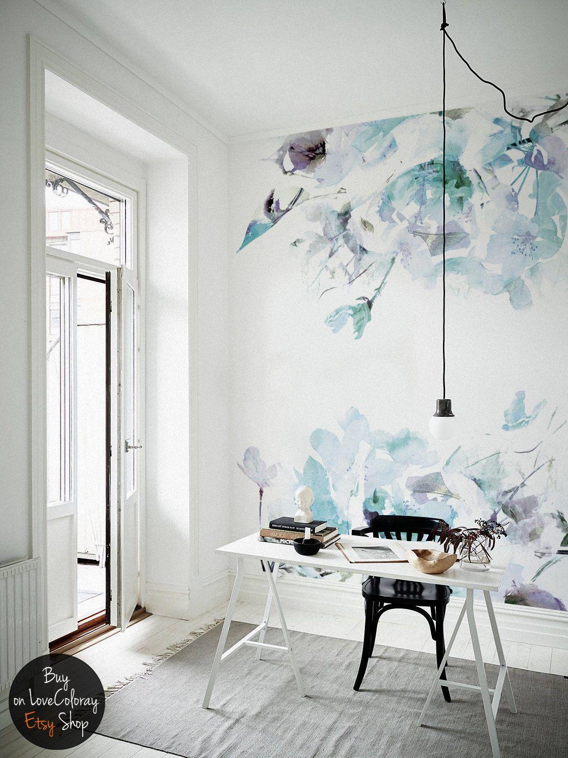 Blue vintage Spring Floral Wallpaper, Watercolor wallpaper