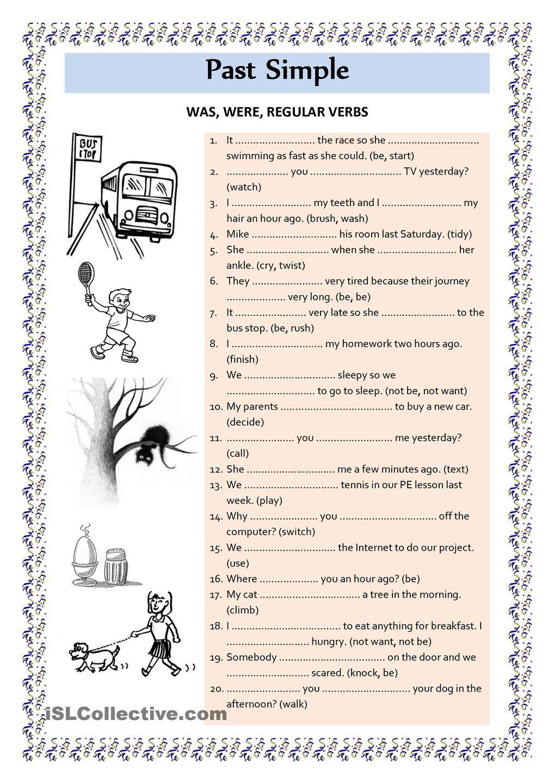 Past Simple was were regular verbs ESL worksheets of the