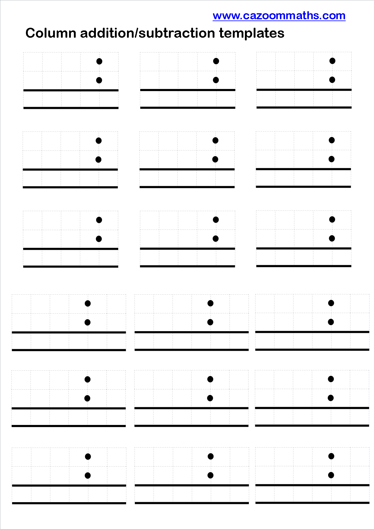 Adding And Subtracting Decimals Column Templates