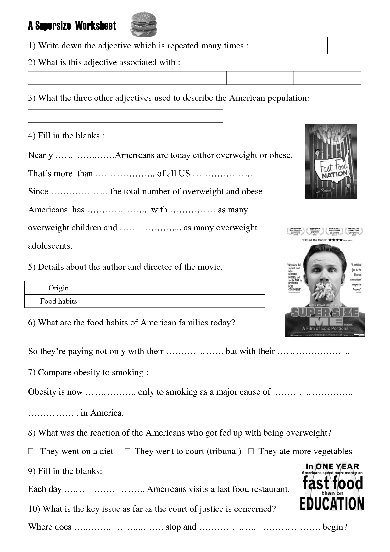 Movie Worksheet Super Size Me