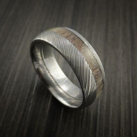 Deer Antler Ring Inlaid In Solid Damascus Steel Hunters