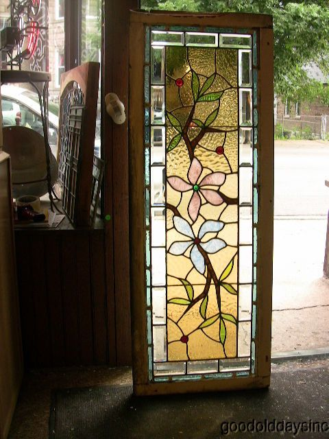 Antique 1890s Victorian Stained Beveled Glass Window