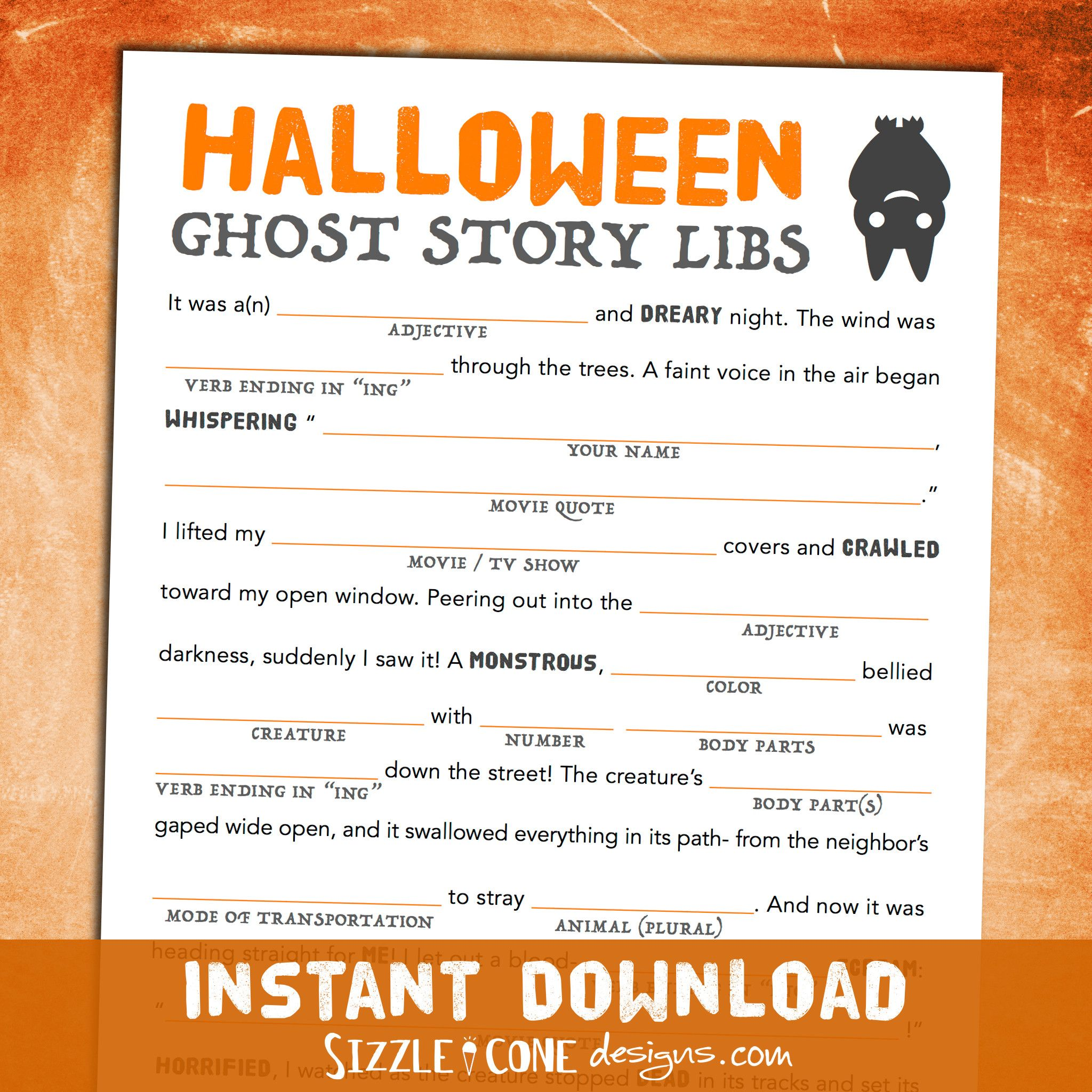 Scary Halloween Mad Lib For Adults Teens Amp Kids