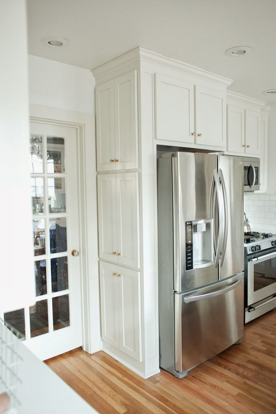 Love the storage next to the fridge! This is from
