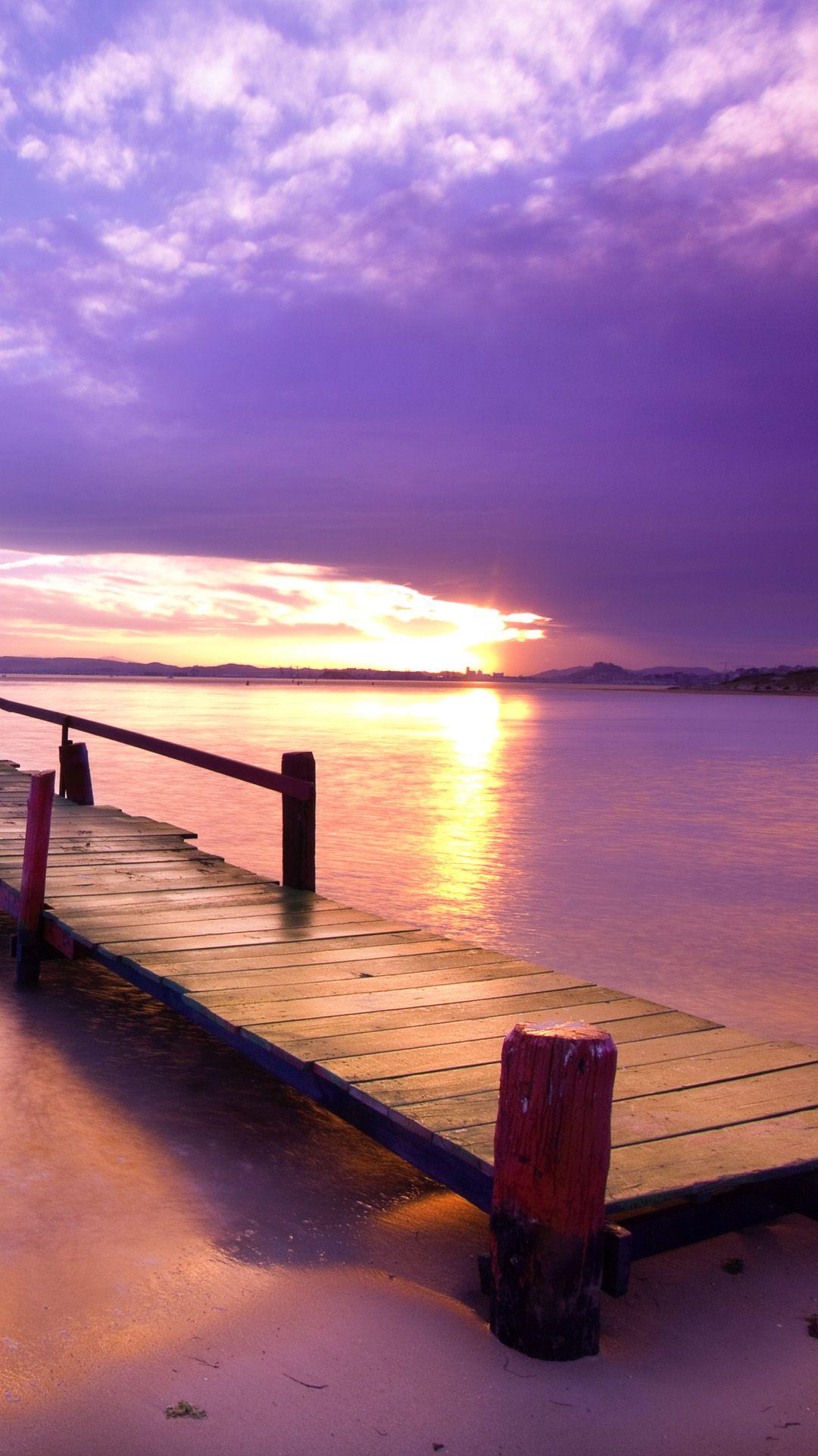 purple dusk beach corridor bridge iphone 6 wallpaper | paradise