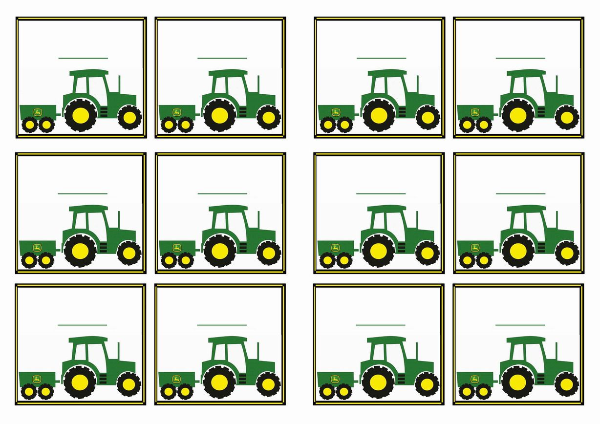 Free Printable John Deer Tractor Themed Name Tags Themed Name Tags