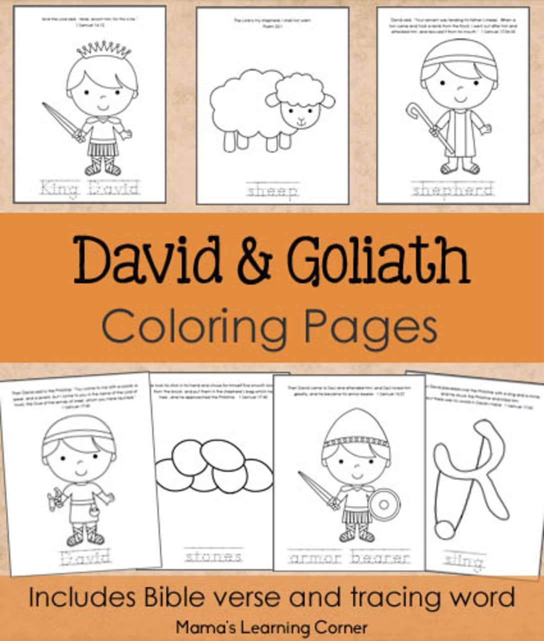 David And Goliath Coloring Pages From Mama S Learning