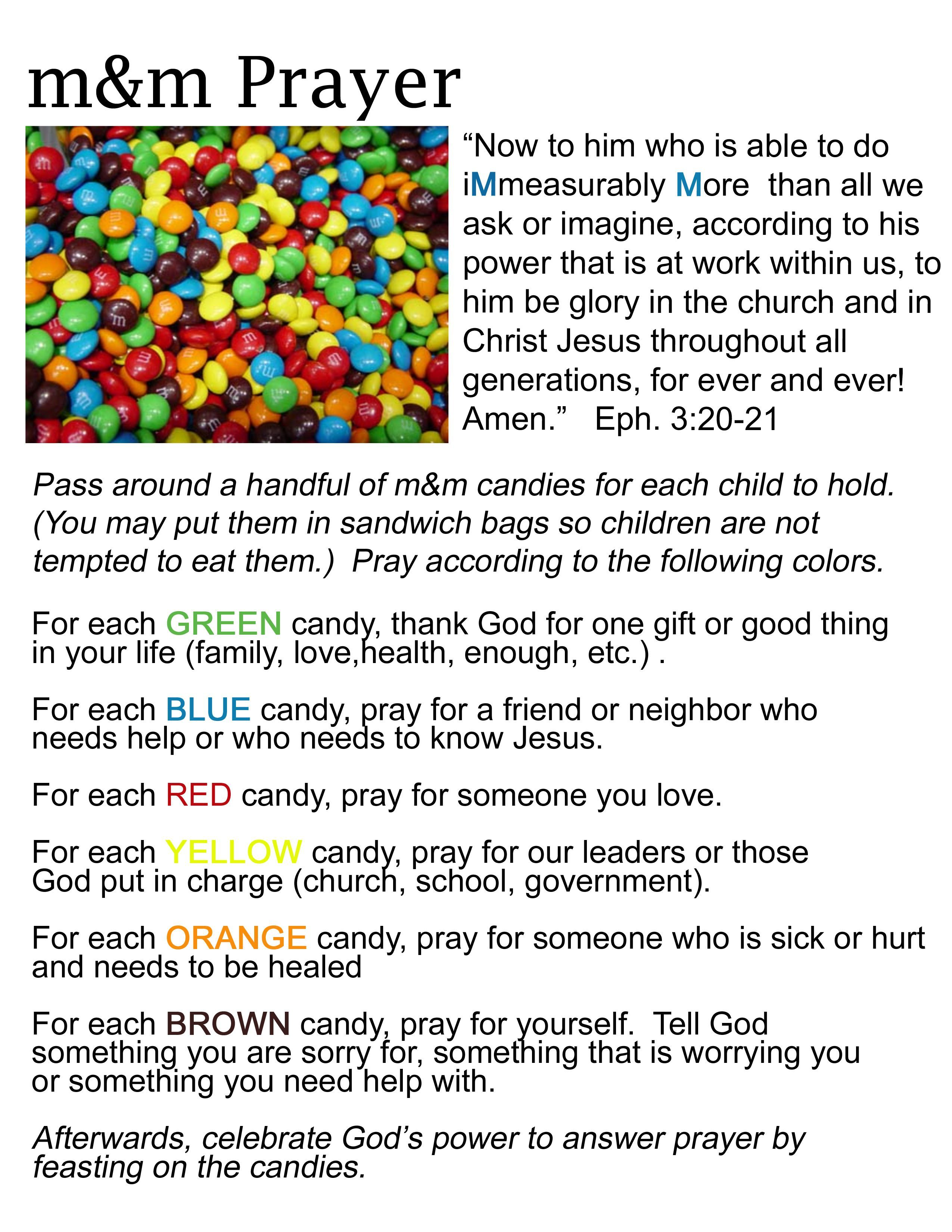 M Amp M Prayer Activity This Is A Really Cool Way To Teach Children How To Pray