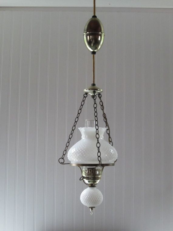 Vintage Hobnail Hanging Light Fixture Milk Glass Hurricane Lamp With A Ruffled Shade