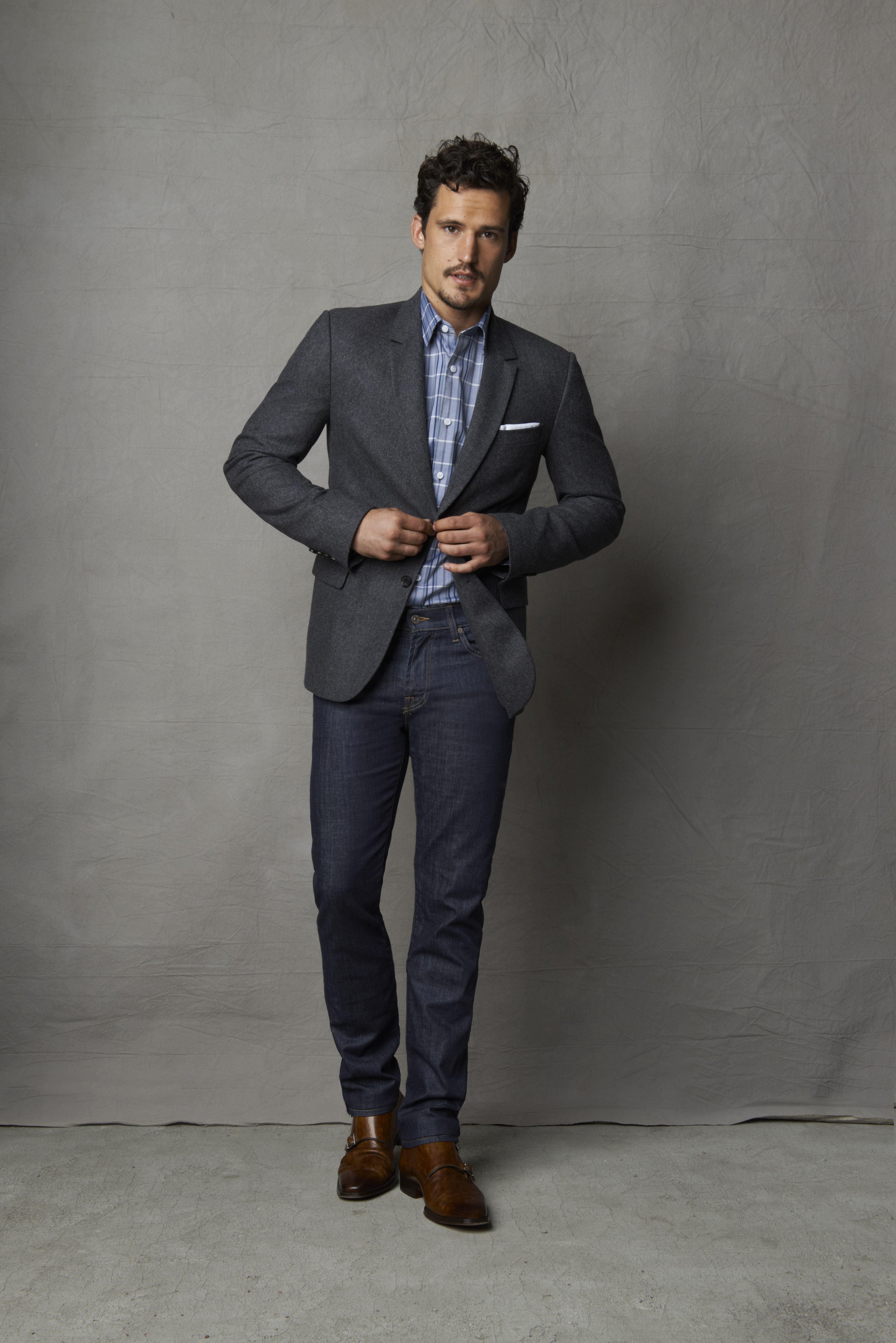 Style tip Dressup denim by adding a sportcoat. Perfect