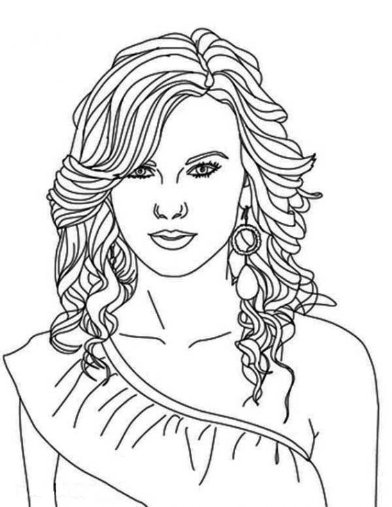 beautiful taylor swift coloring page famous people coloring