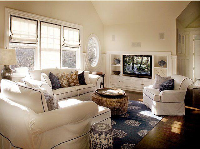 Cream Amp Navy Blue Nautical Themed Living Room Living