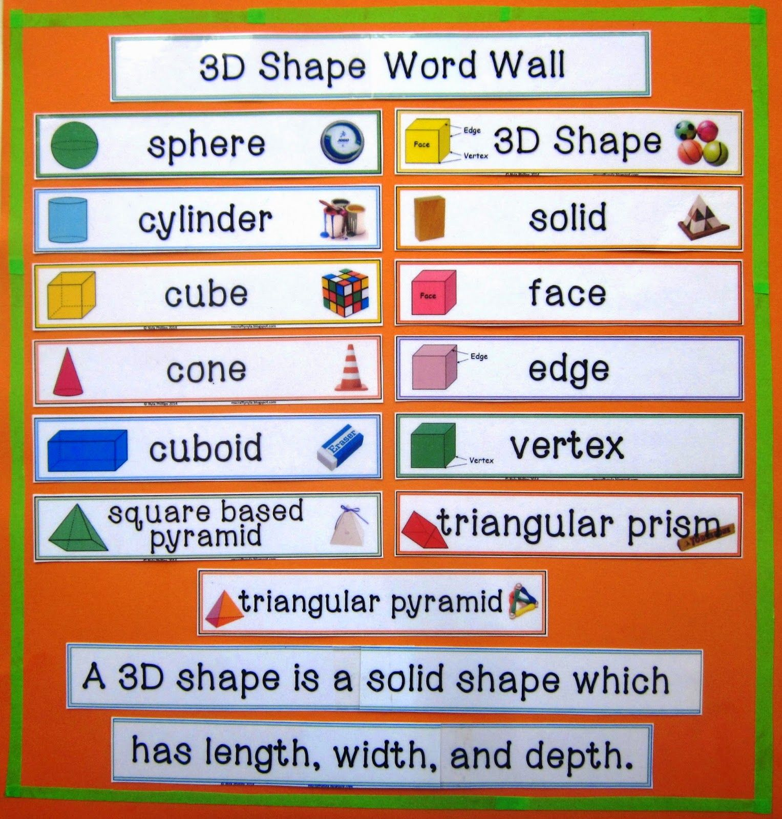3d Shape Word Wall Making Real World Connections In