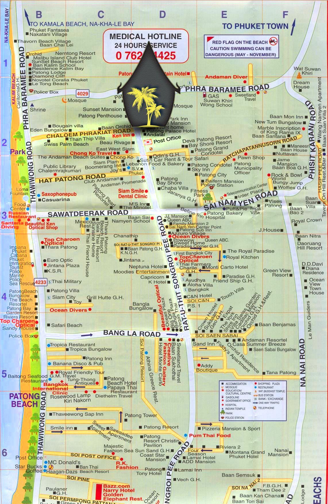 Locate us on Patong Map Andatel Grandé Patong Phuket