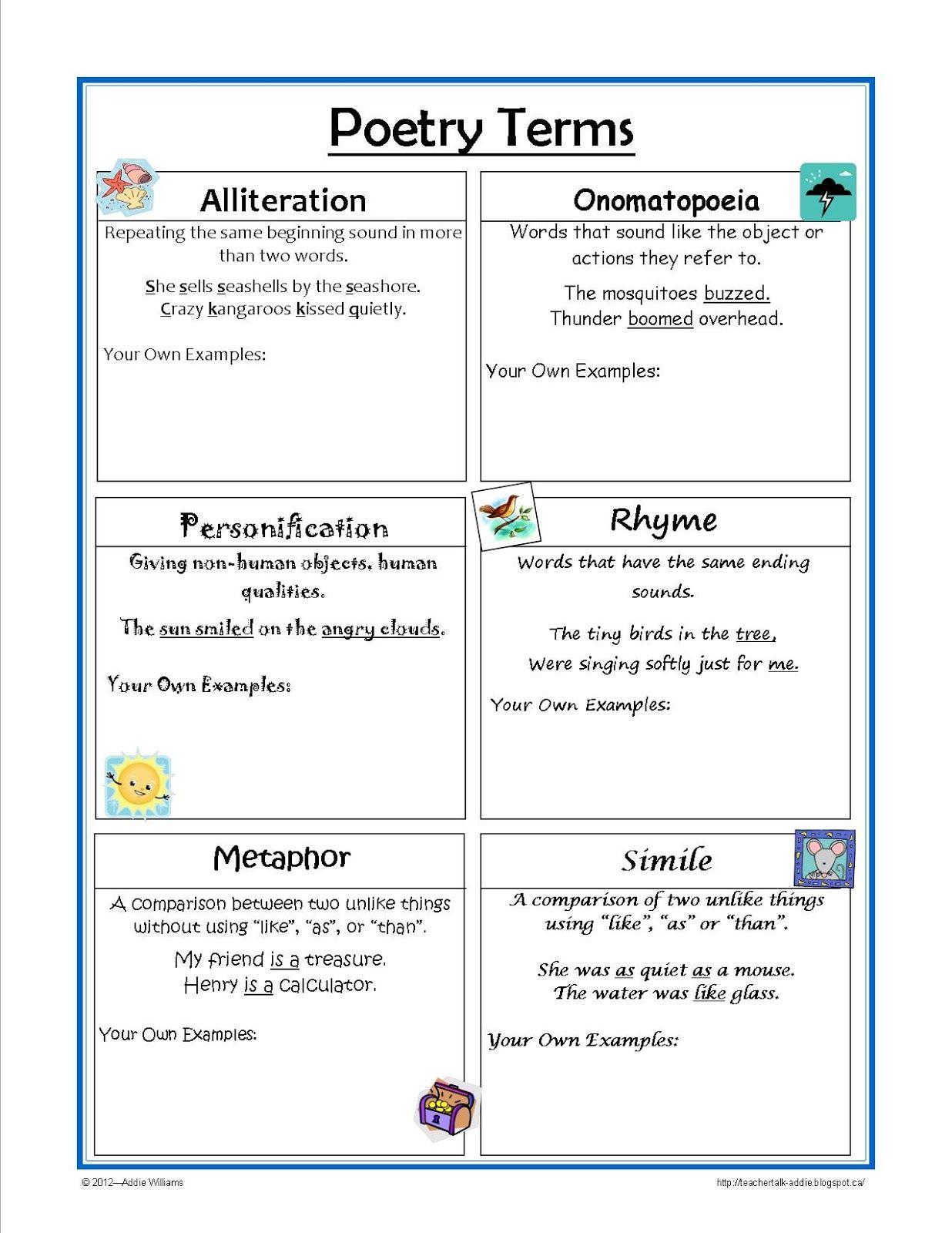 Classroom Freebies Too Figurative Language Reference Sheet